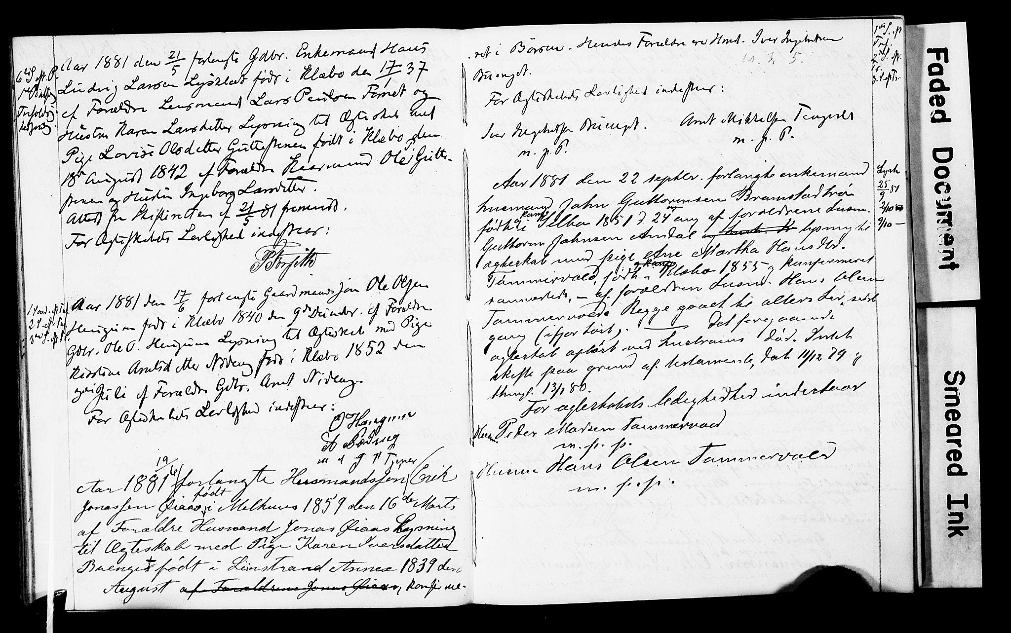 SAT, Ministerialprotokoller, klokkerbøker og fødselsregistre - Sør-Trøndelag, 618/L0445: Lysningsprotokoll nr. 618A08, 1863-1898