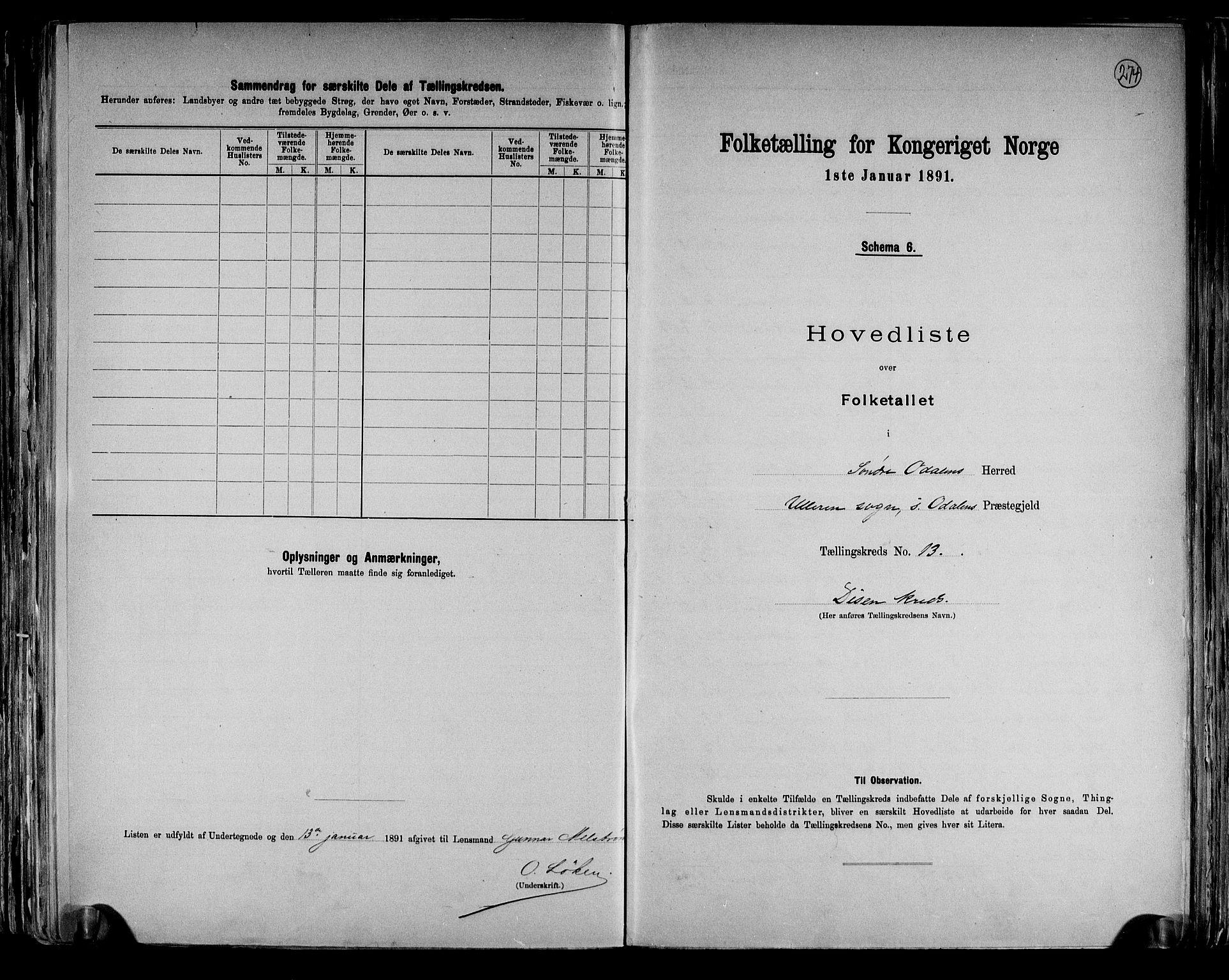 RA, Folketelling 1891 for 0419 Sør-Odal herred, 1891, s. 37