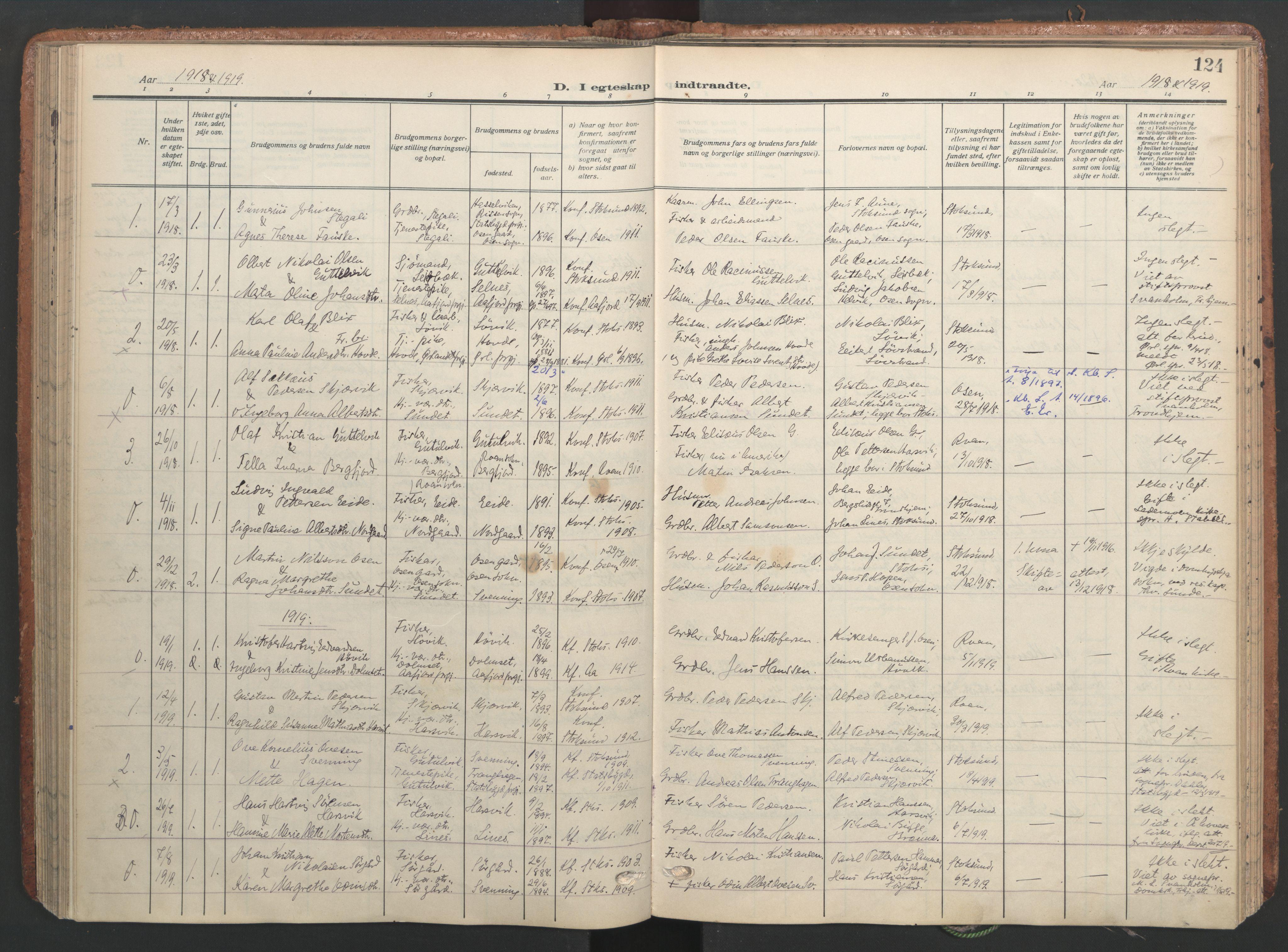 SAT, Ministerialprotokoller, klokkerbøker og fødselsregistre - Sør-Trøndelag, 656/L0694: Ministerialbok nr. 656A03, 1914-1931, s. 124