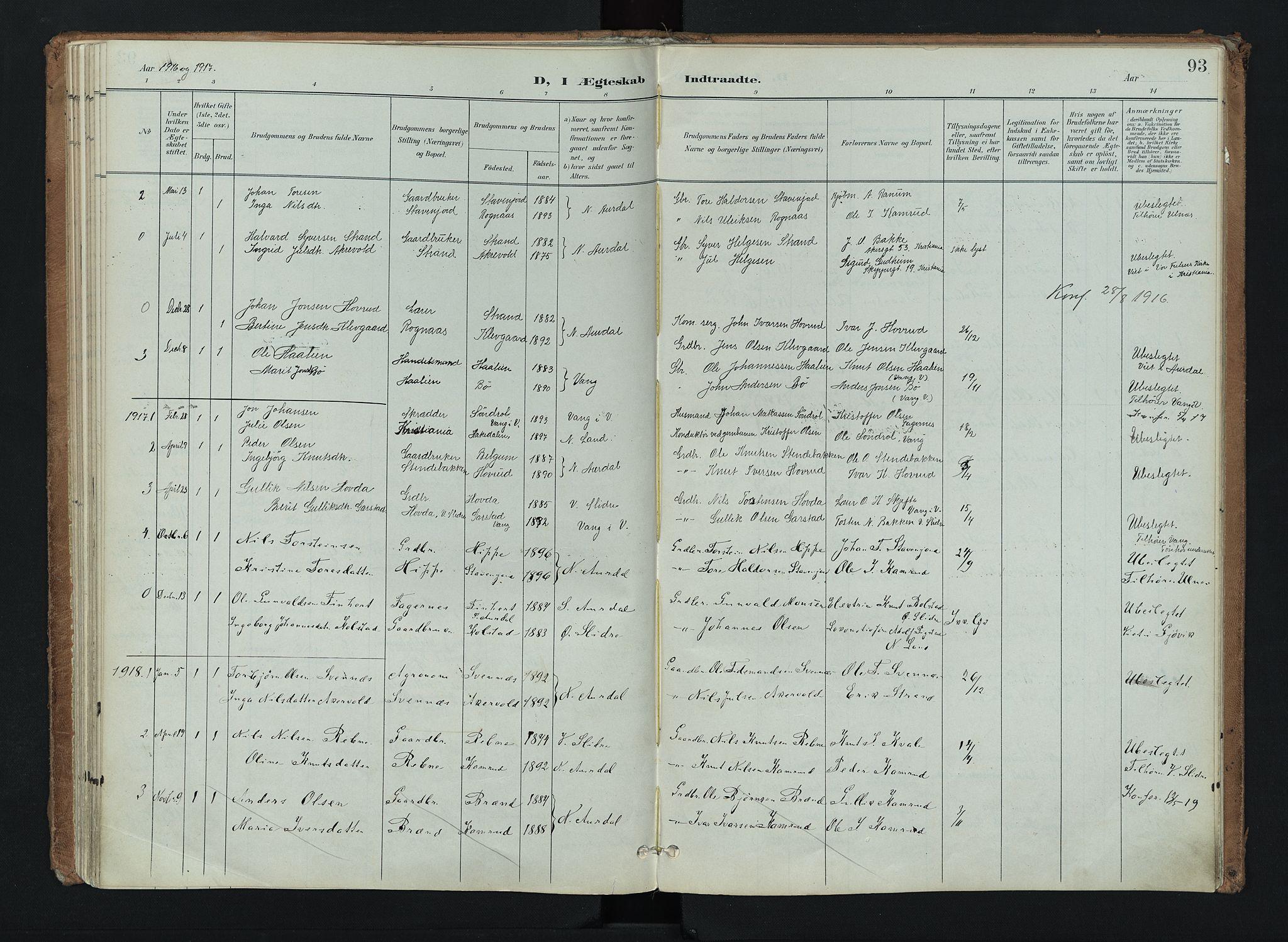 SAH, Nord-Aurdal prestekontor, Ministerialbok nr. 16, 1897-1925, s. 93