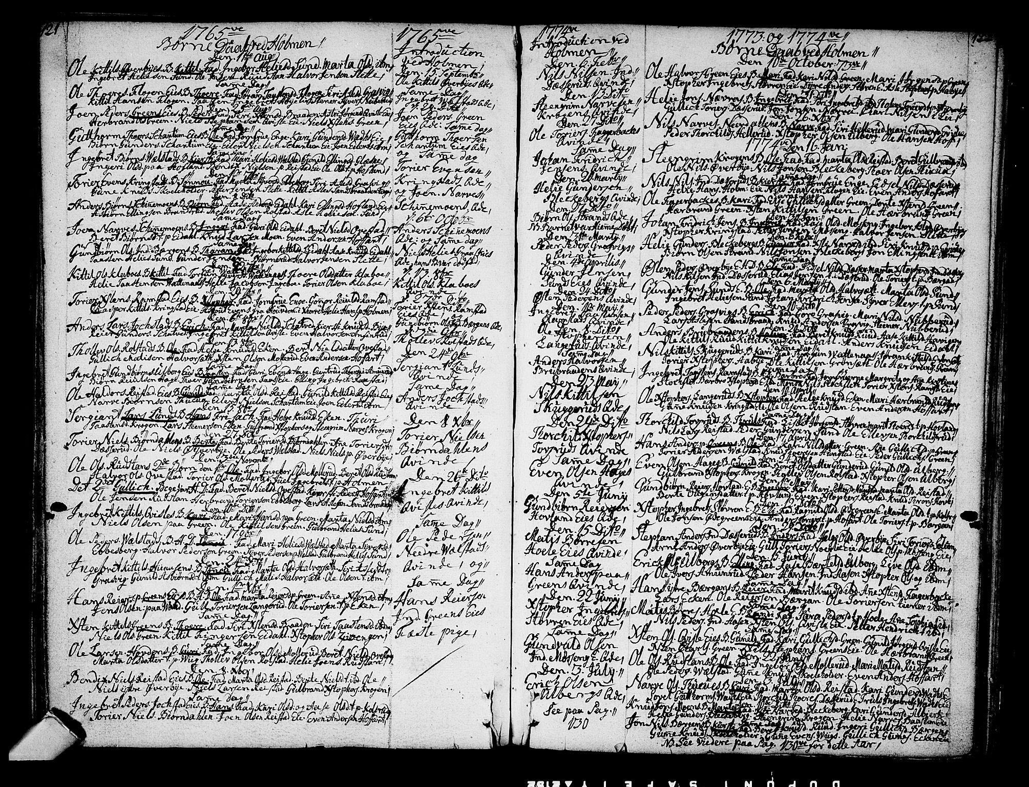 SAKO, Sigdal kirkebøker, F/Fa/L0001: Ministerialbok nr. I 1, 1722-1777, s. 121-122