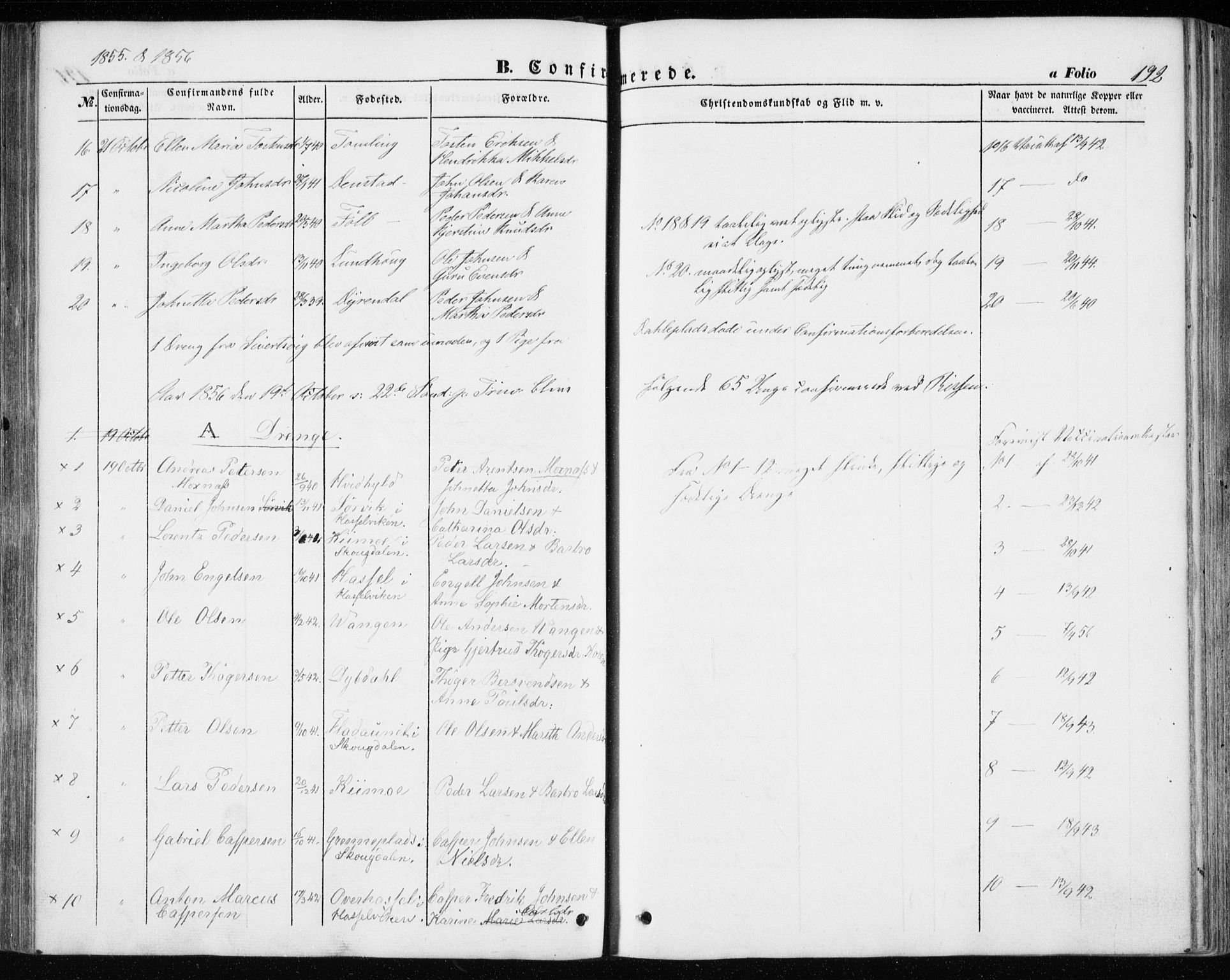 SAT, Ministerialprotokoller, klokkerbøker og fødselsregistre - Sør-Trøndelag, 646/L0611: Ministerialbok nr. 646A09, 1848-1857, s. 192