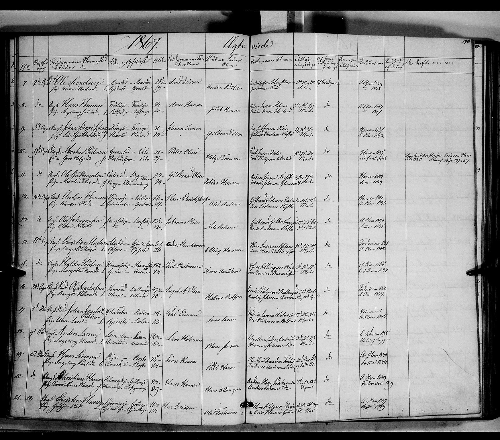 SAH, Jevnaker prestekontor, Ministerialbok nr. 7, 1858-1876, s. 190