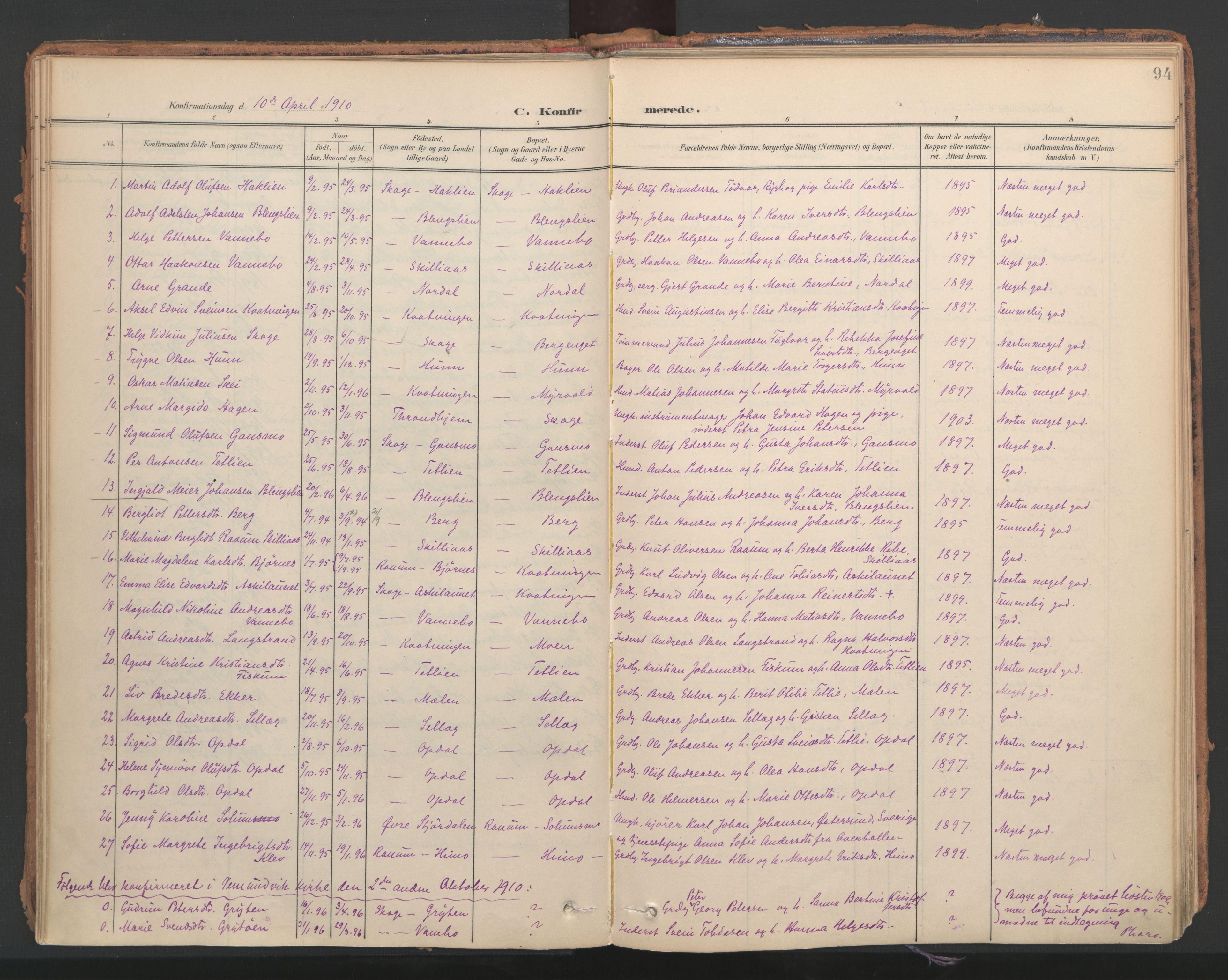 SAT, Ministerialprotokoller, klokkerbøker og fødselsregistre - Nord-Trøndelag, 766/L0564: Ministerialbok nr. 767A02, 1900-1932, s. 94