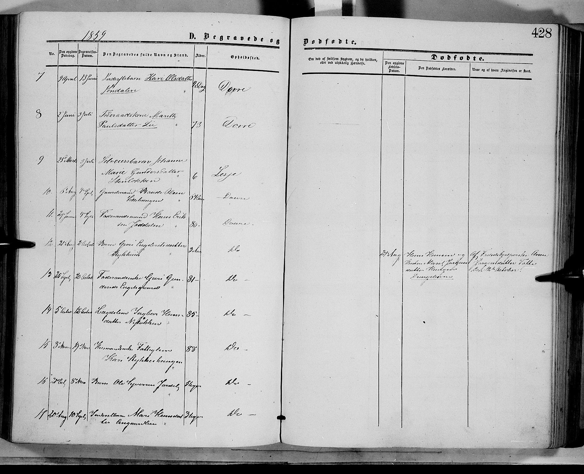 SAH, Dovre prestekontor, Ministerialbok nr. 1, 1854-1878, s. 428
