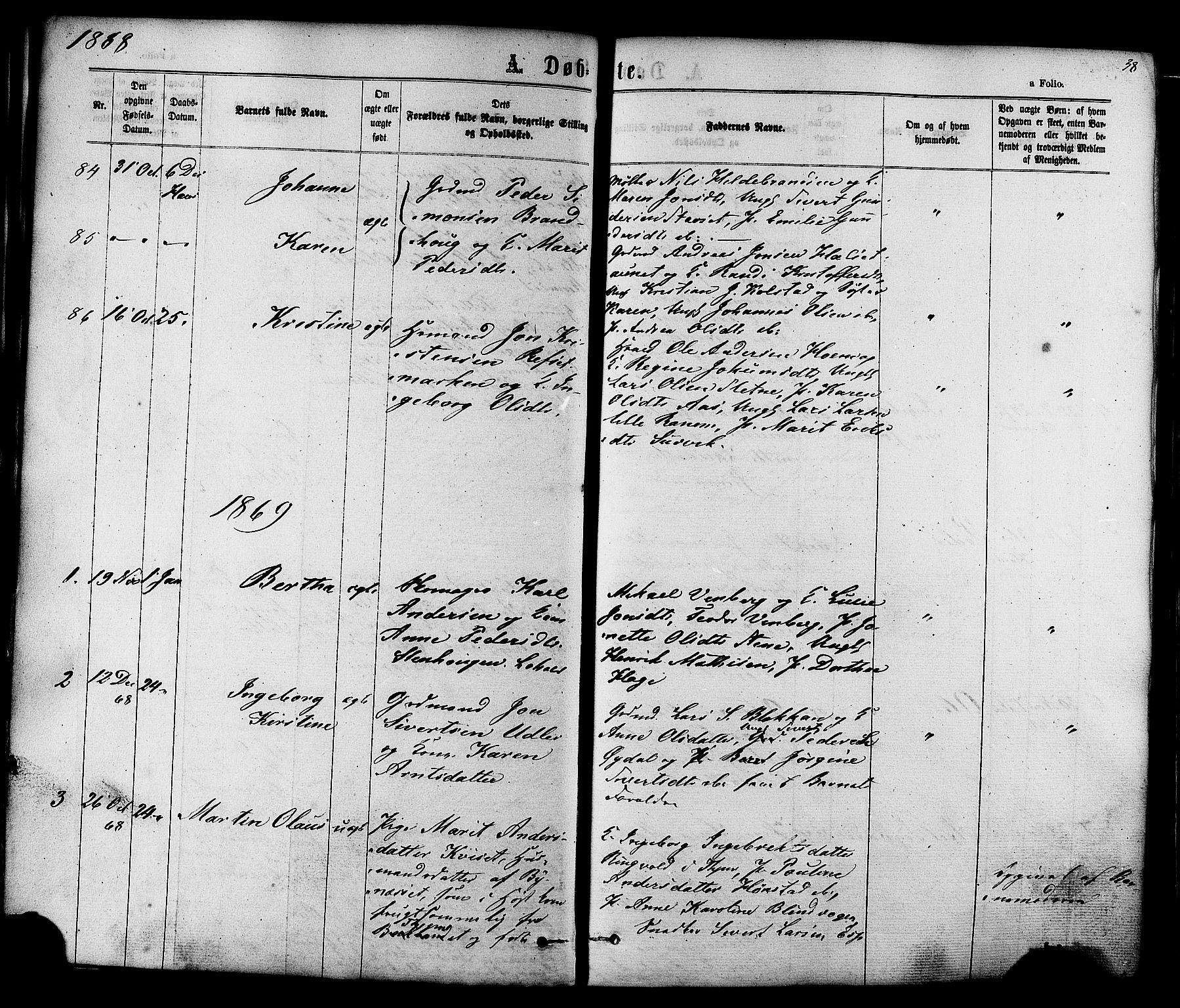 SAT, Ministerialprotokoller, klokkerbøker og fødselsregistre - Sør-Trøndelag, 606/L0293: Ministerialbok nr. 606A08, 1866-1877, s. 38