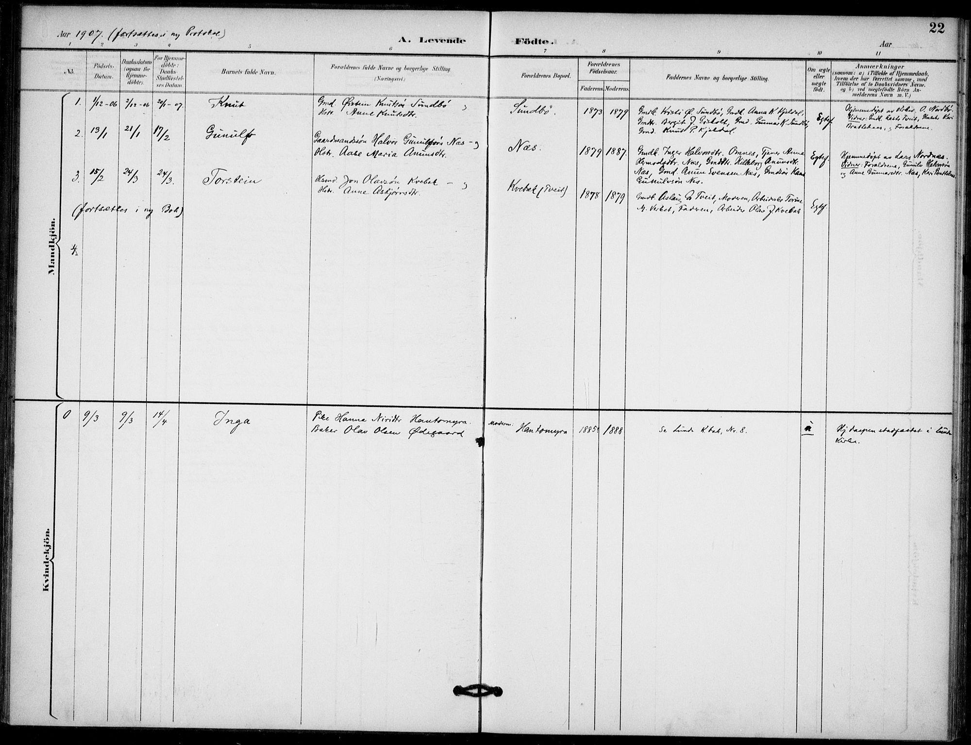 SAKO, Lunde kirkebøker, F/Fb/L0004: Ministerialbok nr. II 4, 1892-1907, s. 22