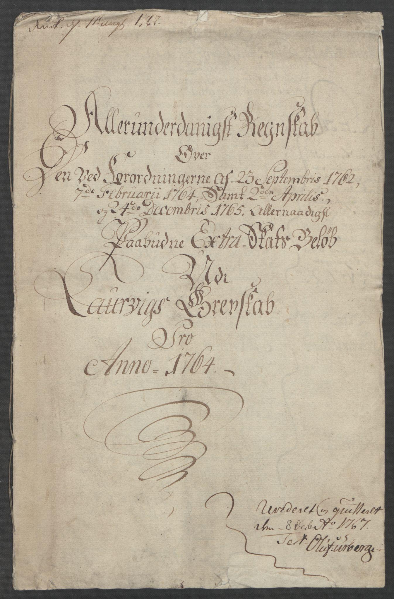 RA, Rentekammeret inntil 1814, Reviderte regnskaper, Fogderegnskap, R33/L2033: Ekstraskatten Larvik grevskap, 1762-1764, s. 404
