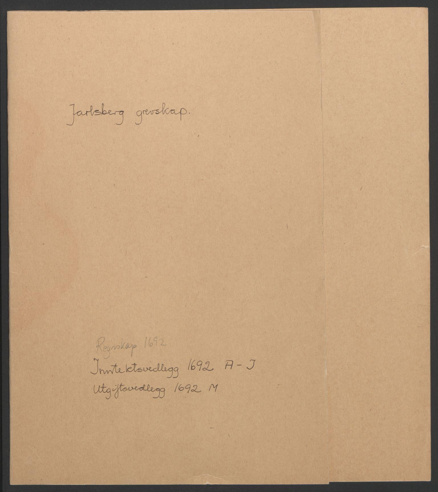 RA, Rentekammeret inntil 1814, Reviderte regnskaper, Fogderegnskap, R32/L1865: Fogderegnskap Jarlsberg grevskap, 1692, s. 2