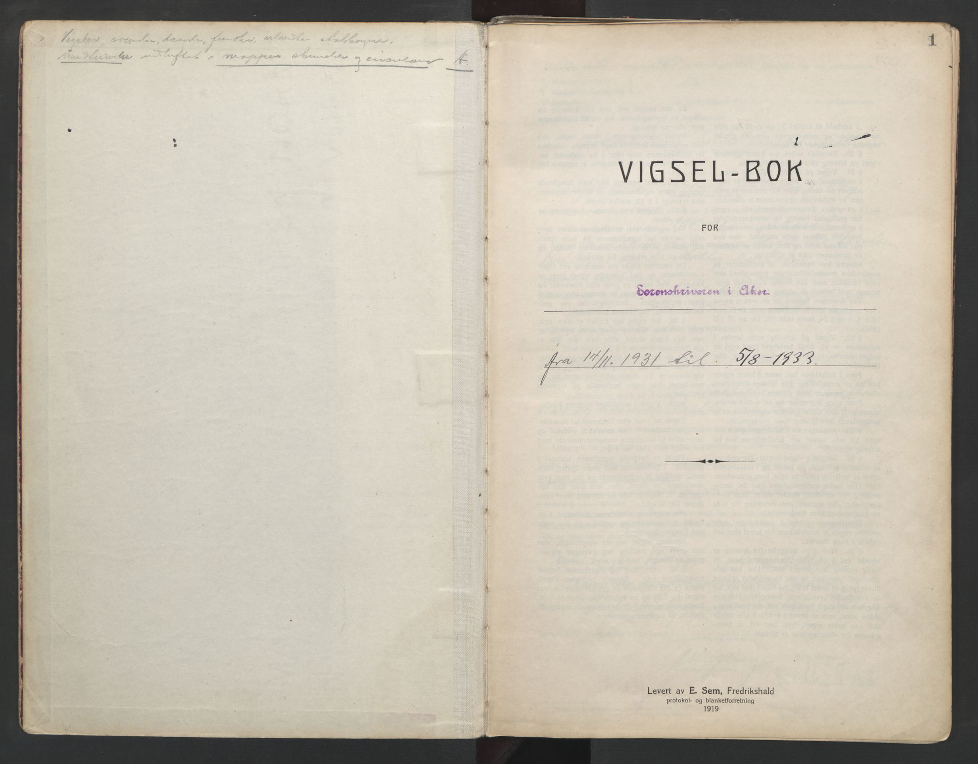 SAO, Aker sorenskriveri, L/Lc/Lcb/L0006: Vigselprotokoll, 1931-1933, s. 1