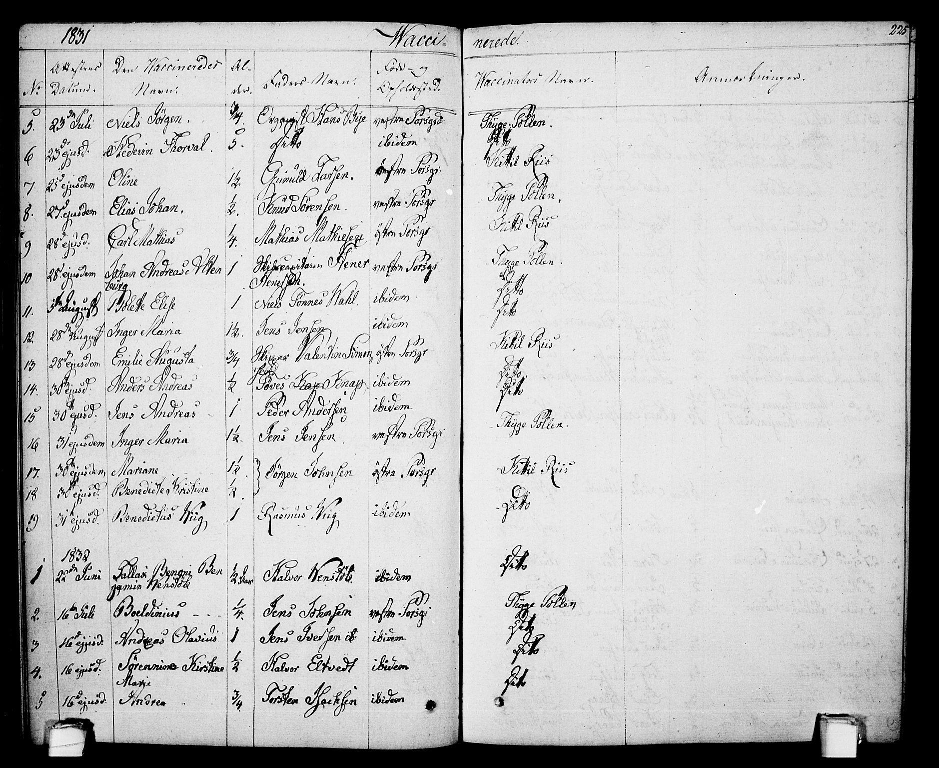 SAKO, Porsgrunn kirkebøker , F/Fa/L0005: Ministerialbok nr. 5, 1828-1840, s. 225