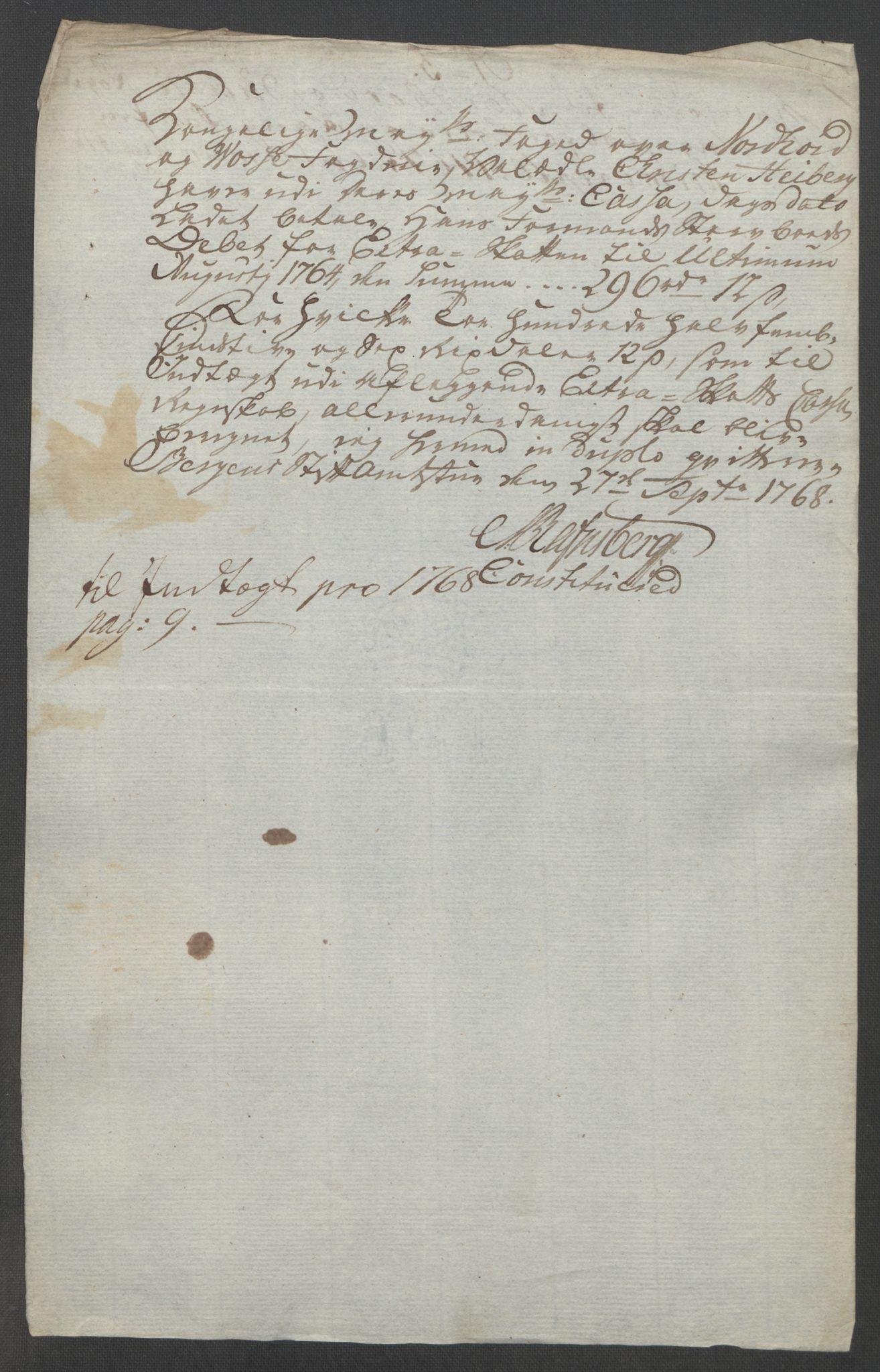 RA, Rentekammeret inntil 1814, Reviderte regnskaper, Fogderegnskap, R51/L3303: Ekstraskatten Nordhordland og Voss, 1762-1772, s. 188