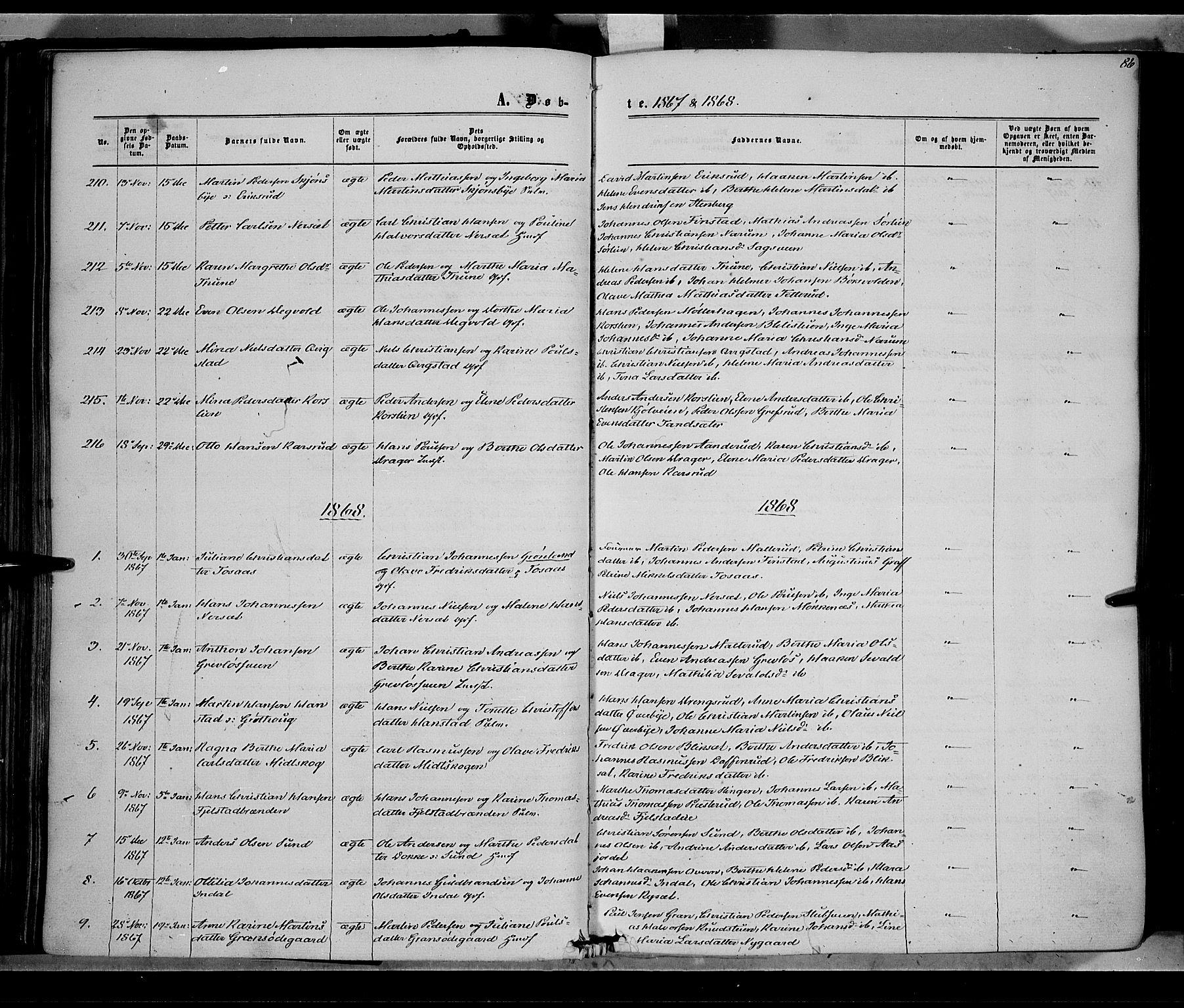 SAH, Vestre Toten prestekontor, Ministerialbok nr. 7, 1862-1869, s. 86