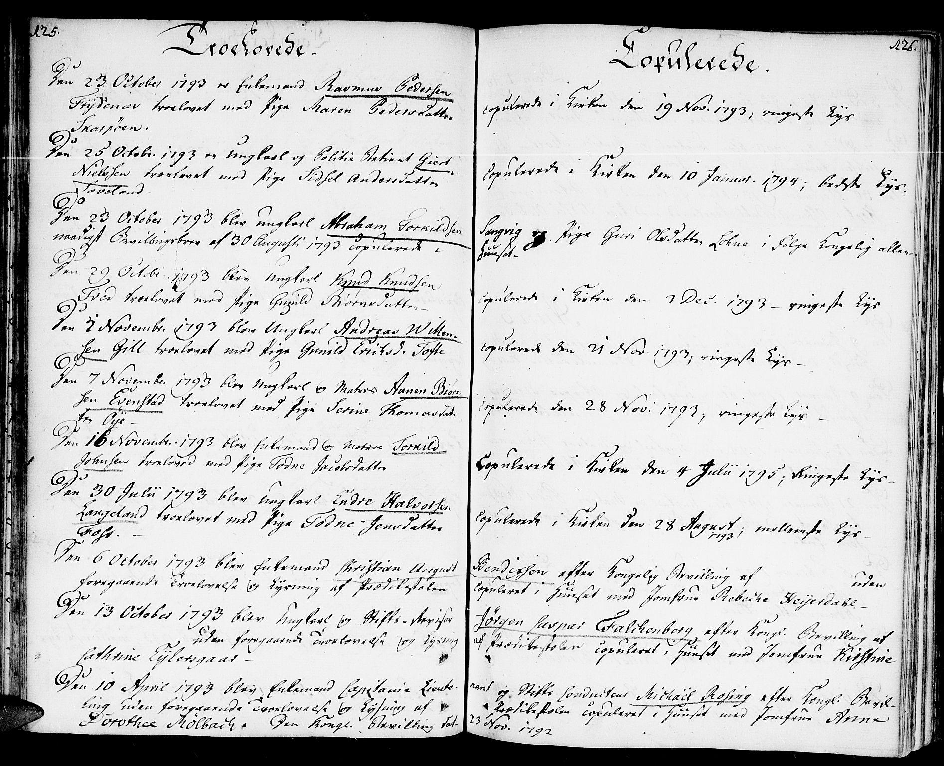 SAK, Kristiansand domprosti, F/Fa/L0005: Ministerialbok nr. A 5, 1776-1818, s. 125-126