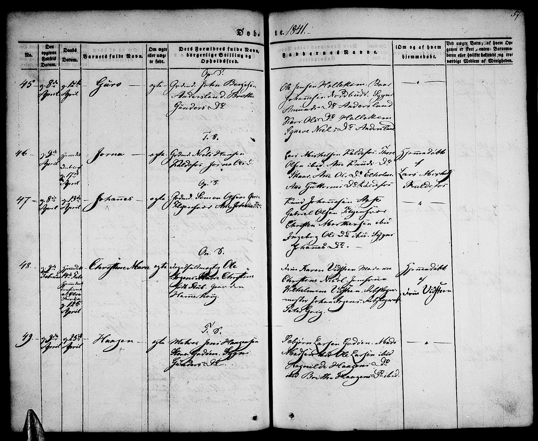 SAB, Tysnes sokneprestembete, H/Haa: Ministerialbok nr. A 9, 1837-1848, s. 57