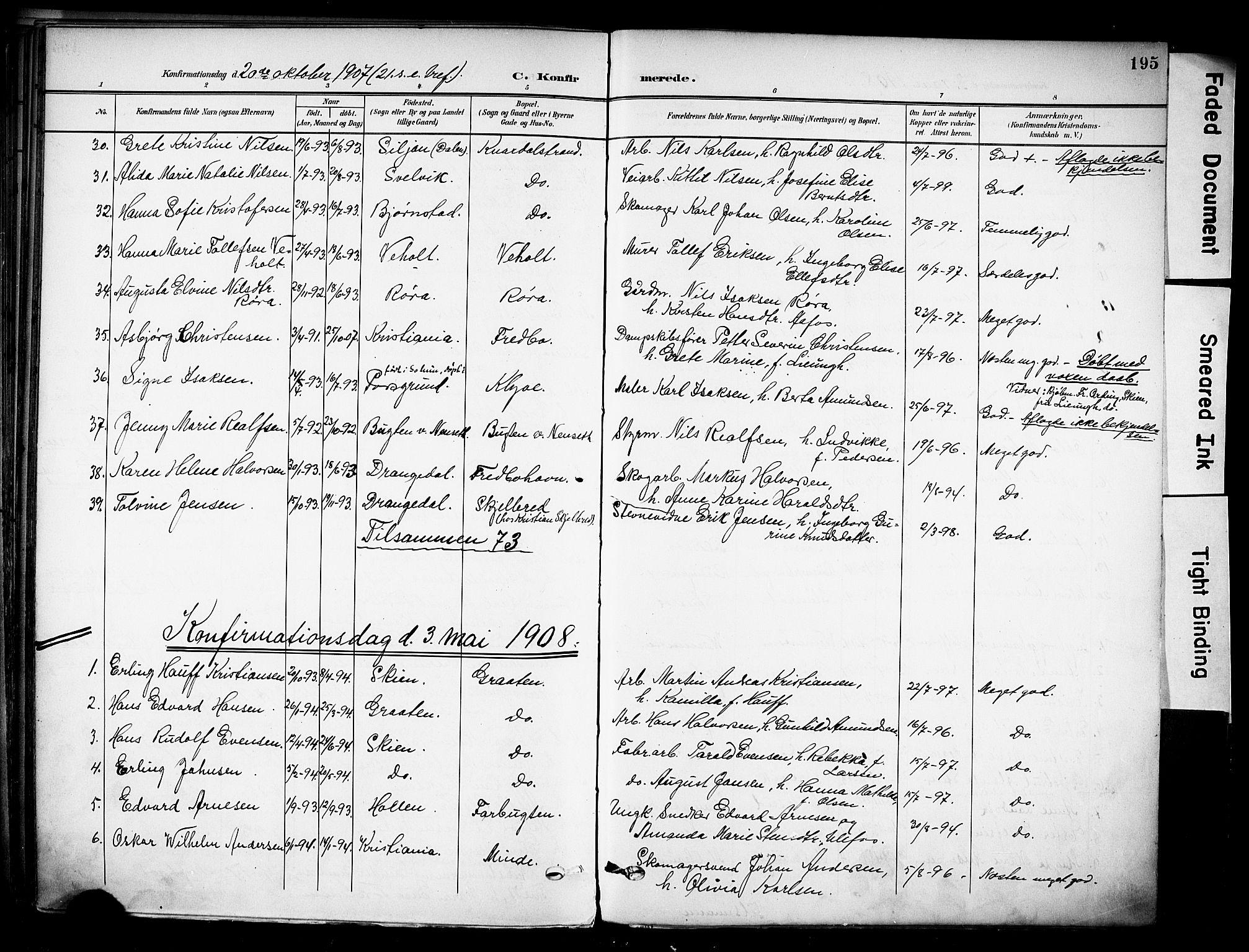 SAKO, Solum kirkebøker, F/Fa/L0011: Ministerialbok nr. I 11, 1898-1909, s. 195