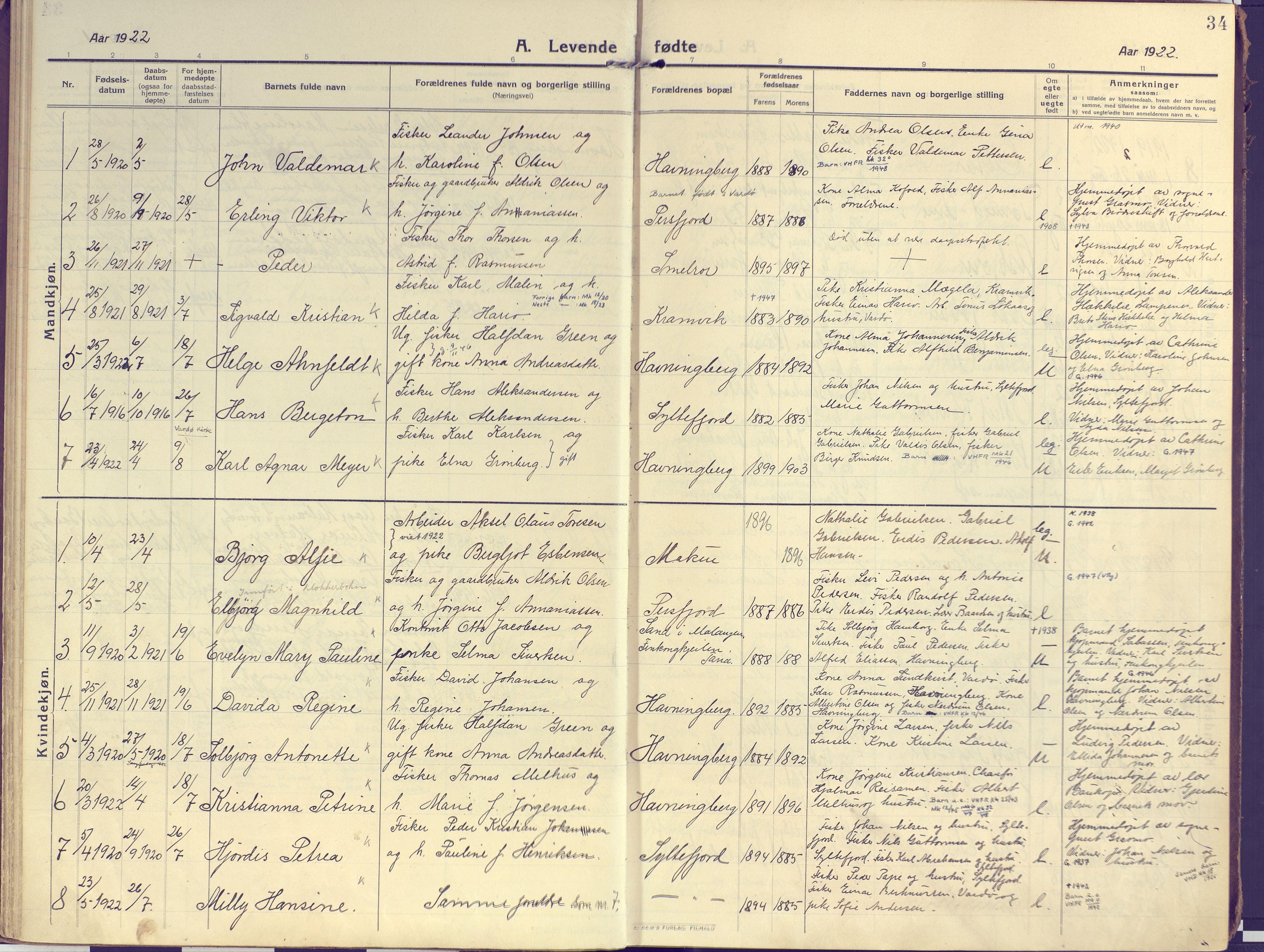 SATØ, Vardø sokneprestkontor, H/Ha/L0013kirke: Ministerialbok nr. 13, 1912-1928, s. 34
