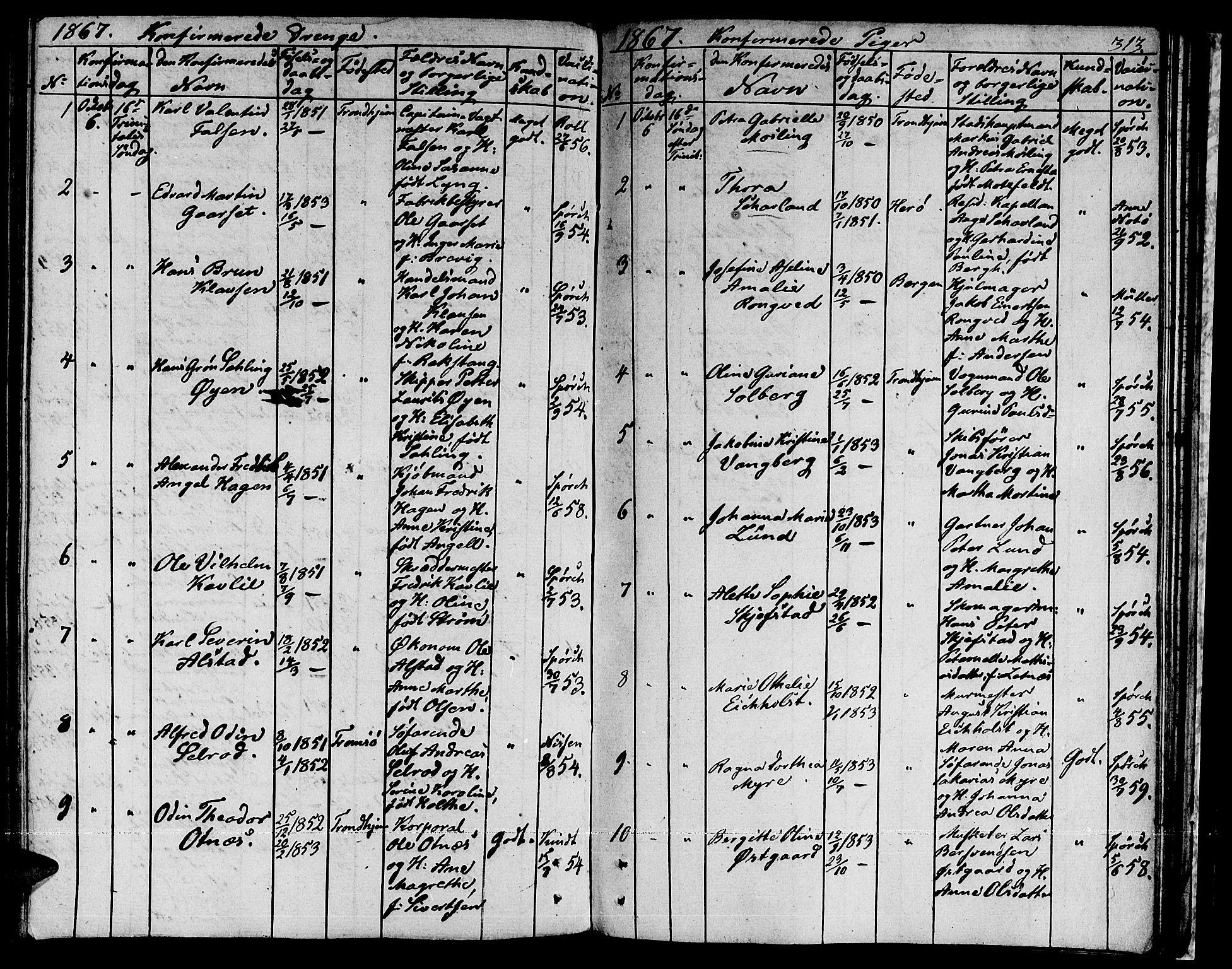 SAT, Ministerialprotokoller, klokkerbøker og fødselsregistre - Sør-Trøndelag, 601/L0070: Residerende kapellans bok nr. 601B03, 1821-1881, s. 313