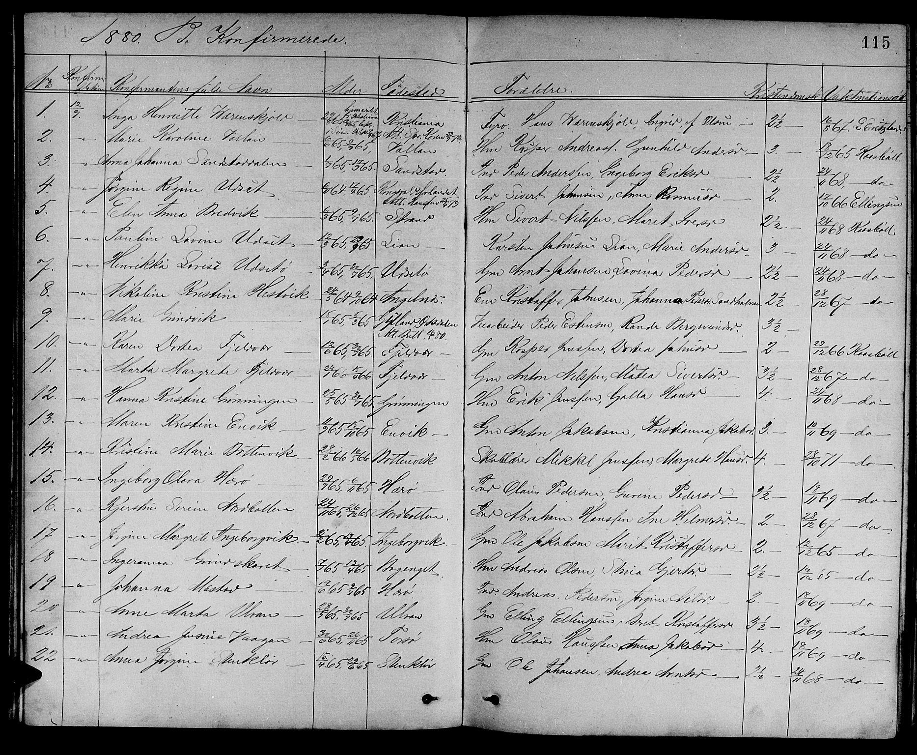 SAT, Ministerialprotokoller, klokkerbøker og fødselsregistre - Sør-Trøndelag, 637/L0561: Klokkerbok nr. 637C02, 1873-1882, s. 115