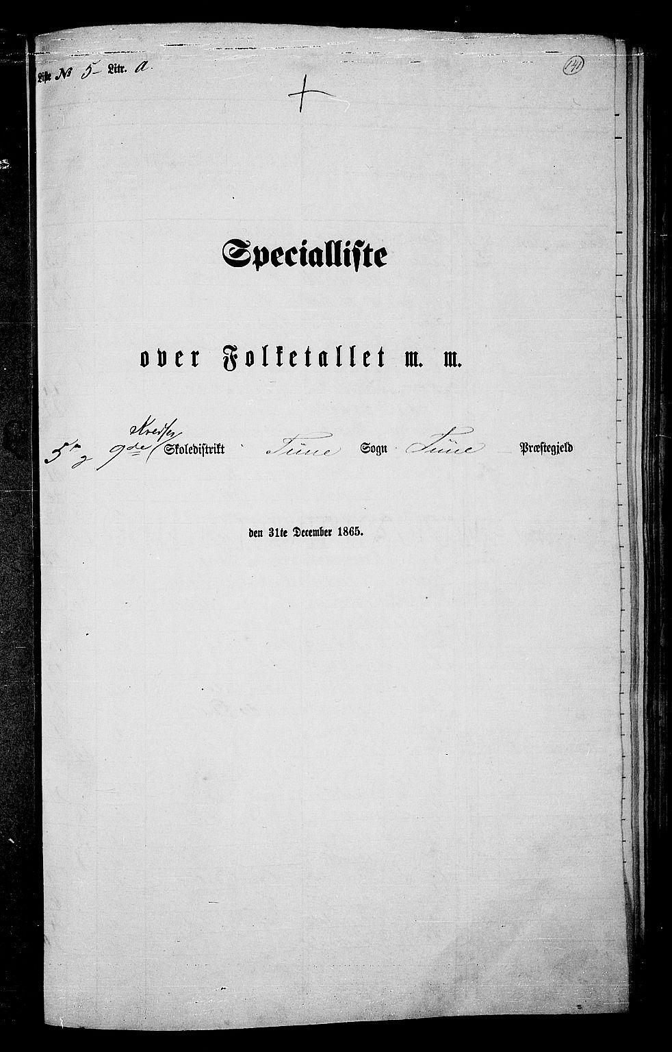 RA, Folketelling 1865 for 0130P Tune prestegjeld, 1865, s. 130