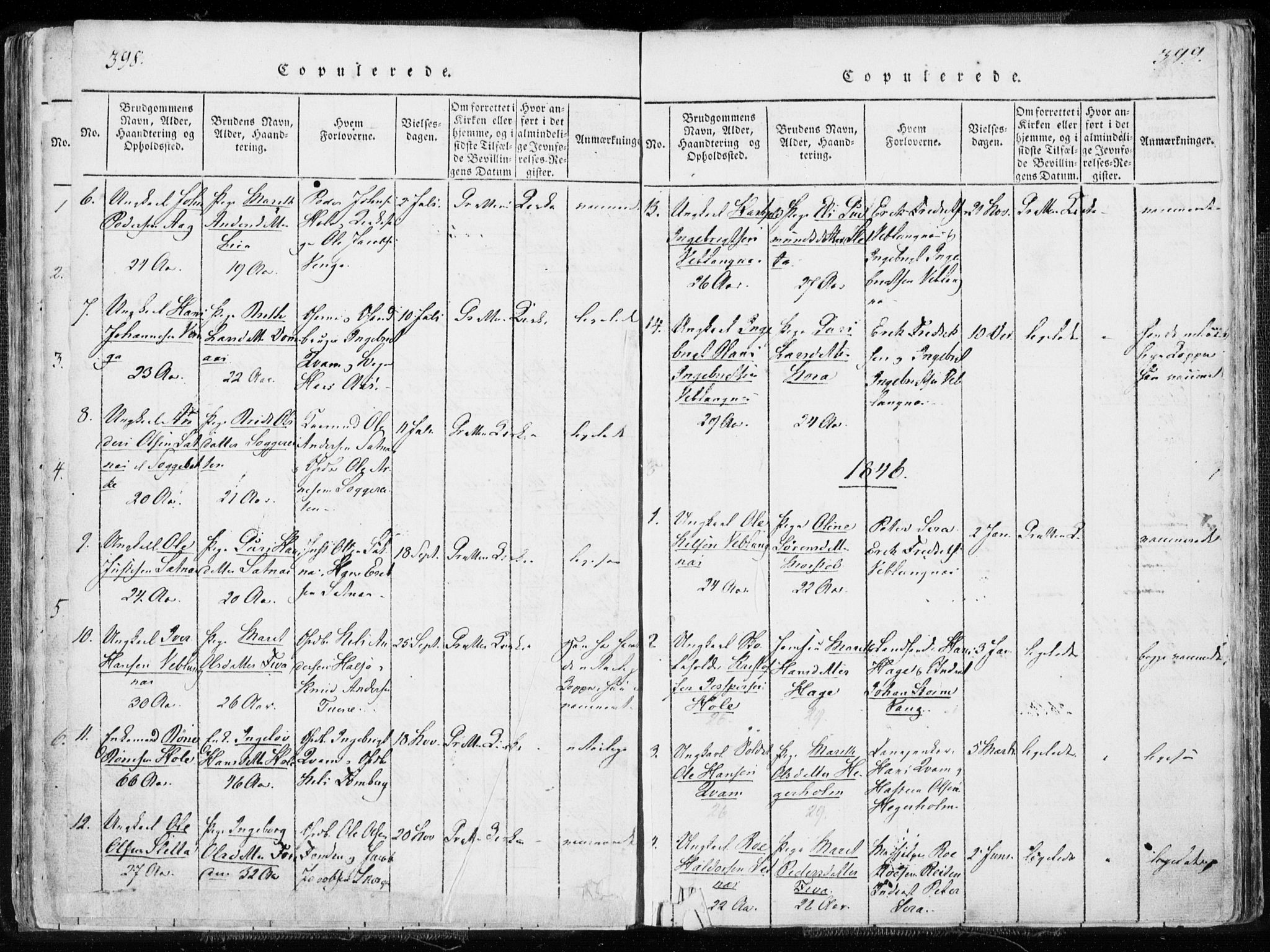 SAT, Ministerialprotokoller, klokkerbøker og fødselsregistre - Møre og Romsdal, 544/L0571: Ministerialbok nr. 544A04, 1818-1853, s. 398-399