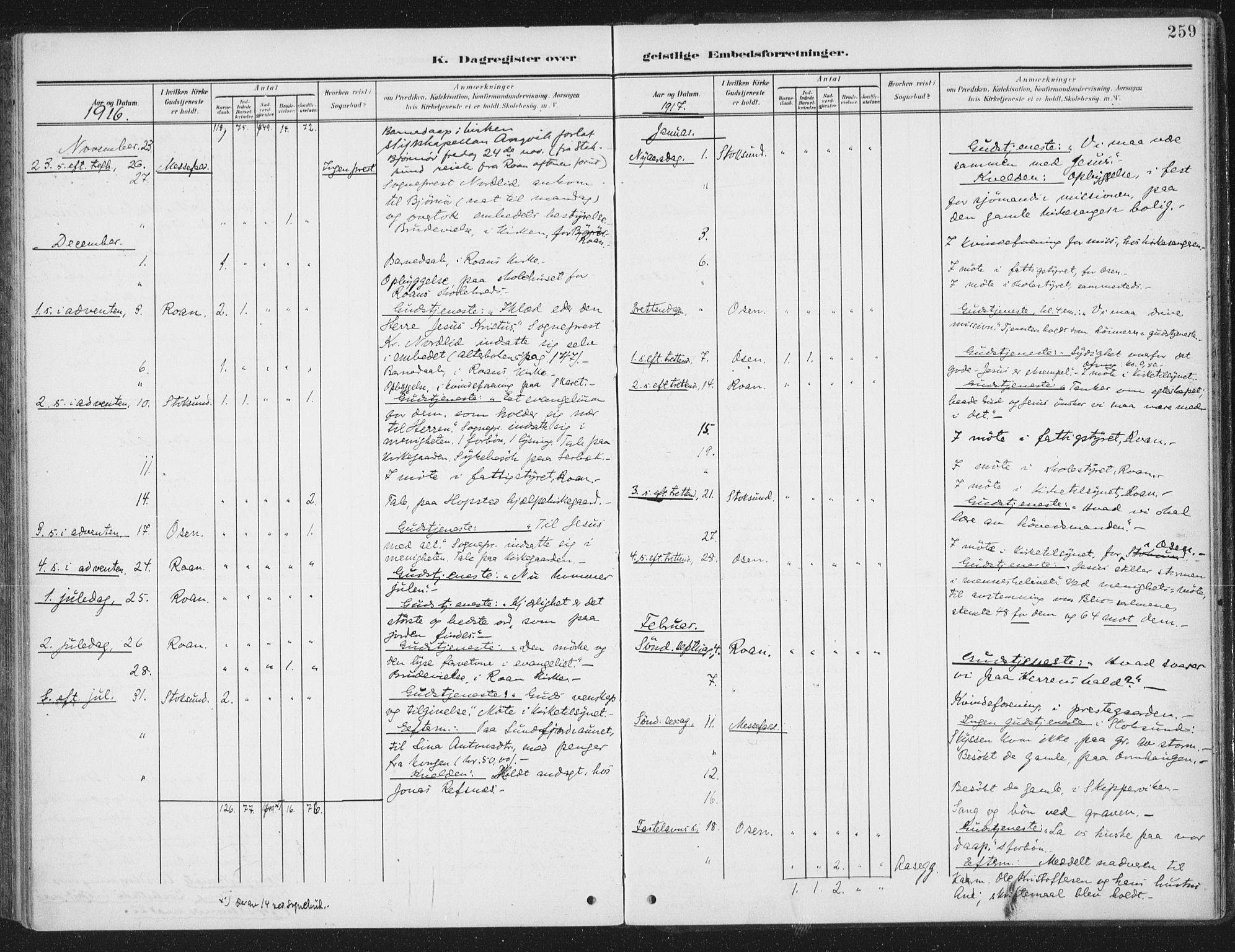 SAT, Ministerialprotokoller, klokkerbøker og fødselsregistre - Sør-Trøndelag, 657/L0709: Ministerialbok nr. 657A10, 1905-1919, s. 259