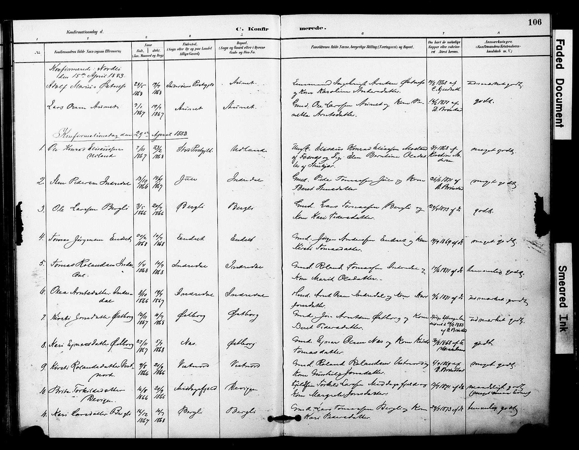 SAT, Ministerialprotokoller, klokkerbøker og fødselsregistre - Nord-Trøndelag, 757/L0505: Ministerialbok nr. 757A01, 1882-1904, s. 106