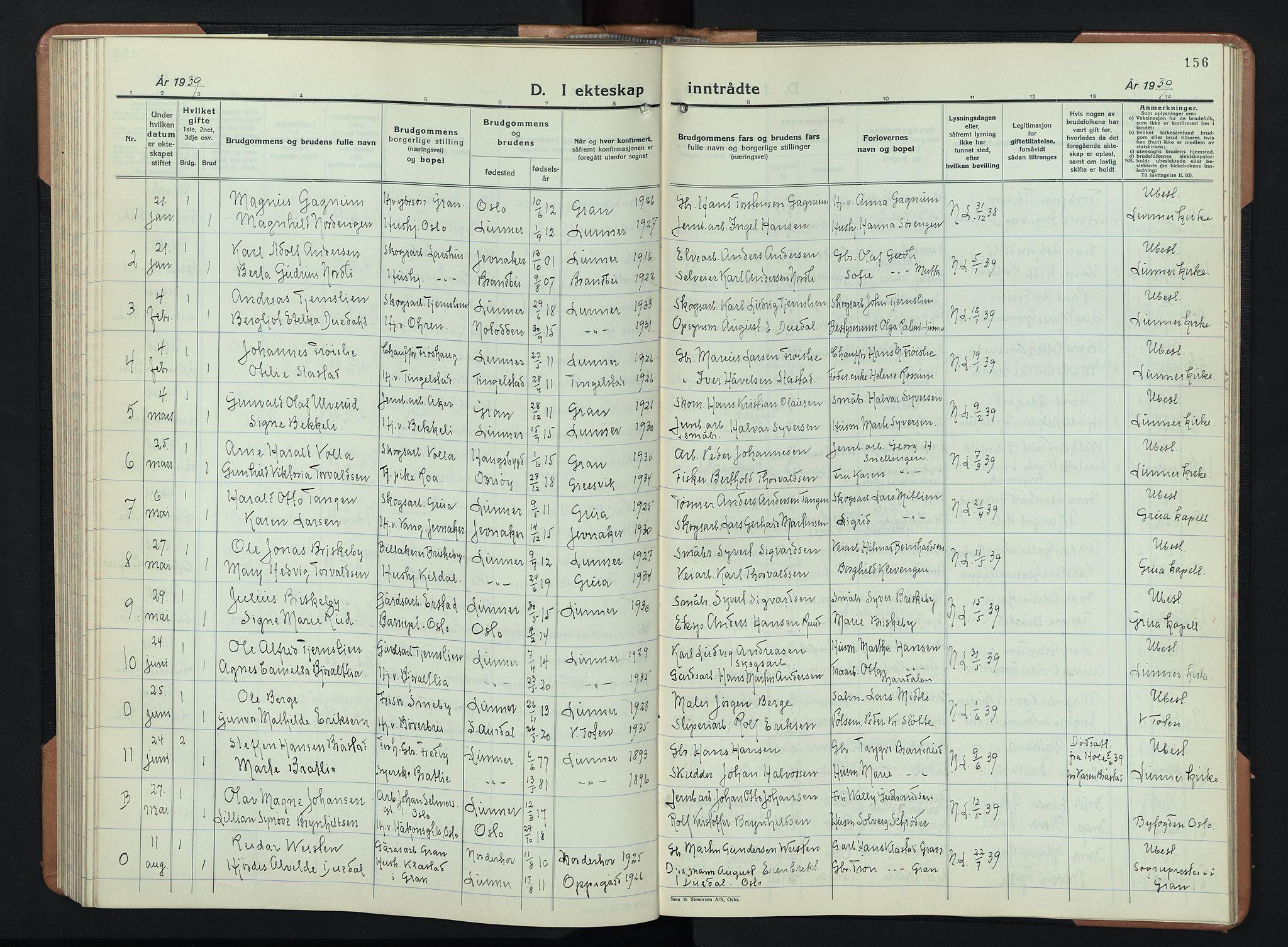 SAH, Lunner prestekontor, H/Ha/Hab/L0003: Klokkerbok nr. 3, 1933-1945, s. 156
