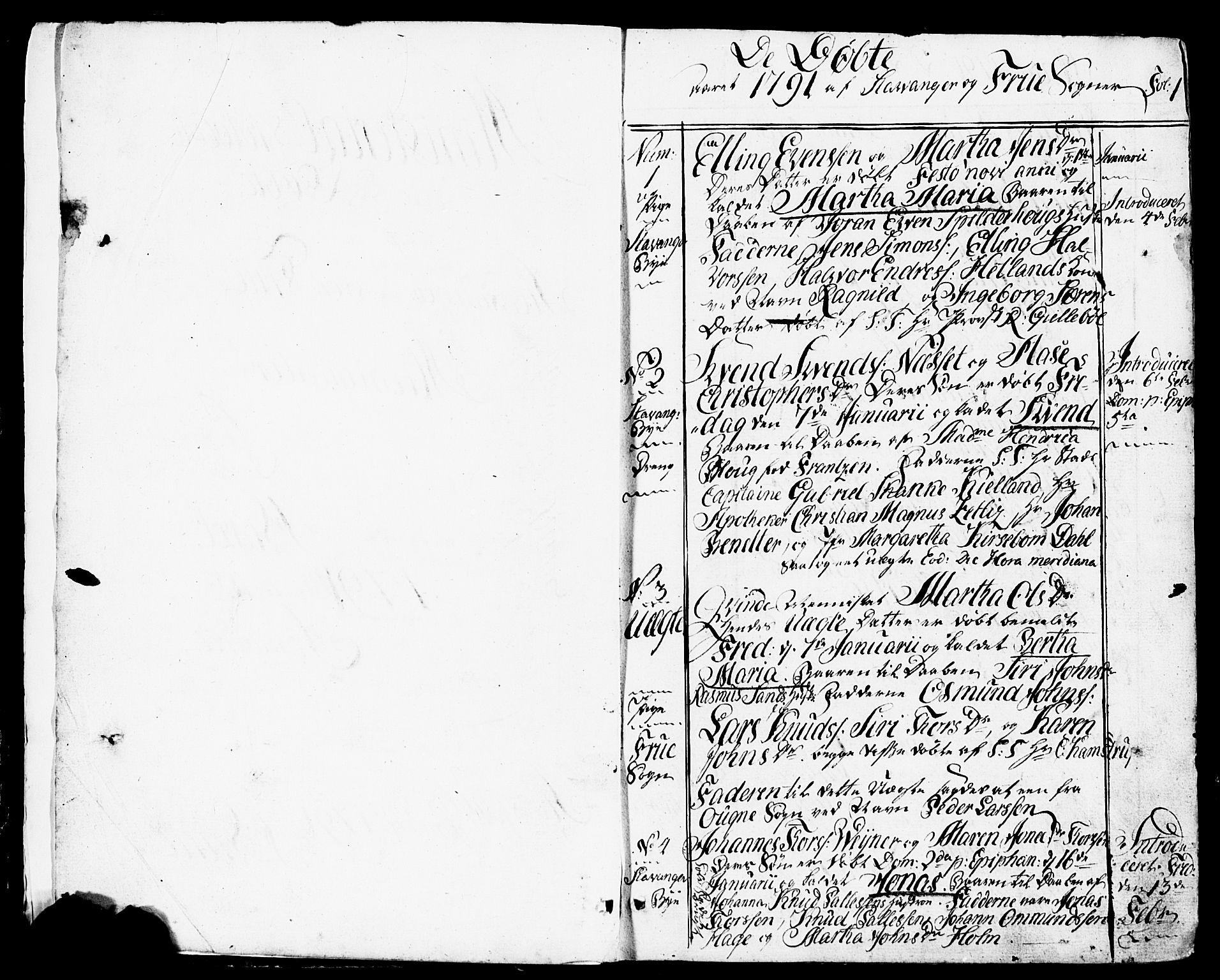 SAST, Domkirken sokneprestkontor, 30/30BB/L0007: Klokkerbok nr. B 7, 1791-1813, s. 1