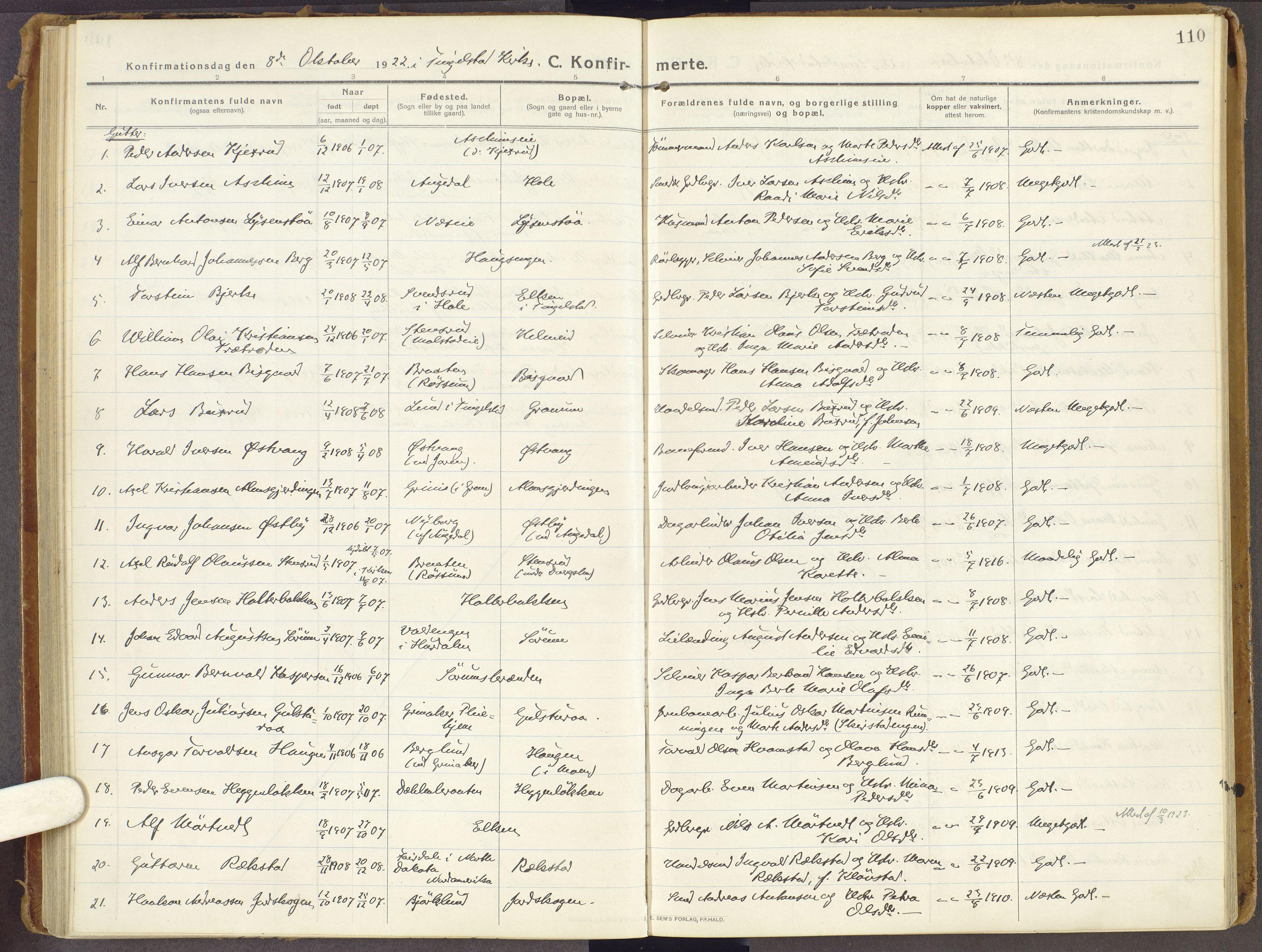 SAH, Brandbu prestekontor, Ministerialbok nr. 3, 1914-1928, s. 110
