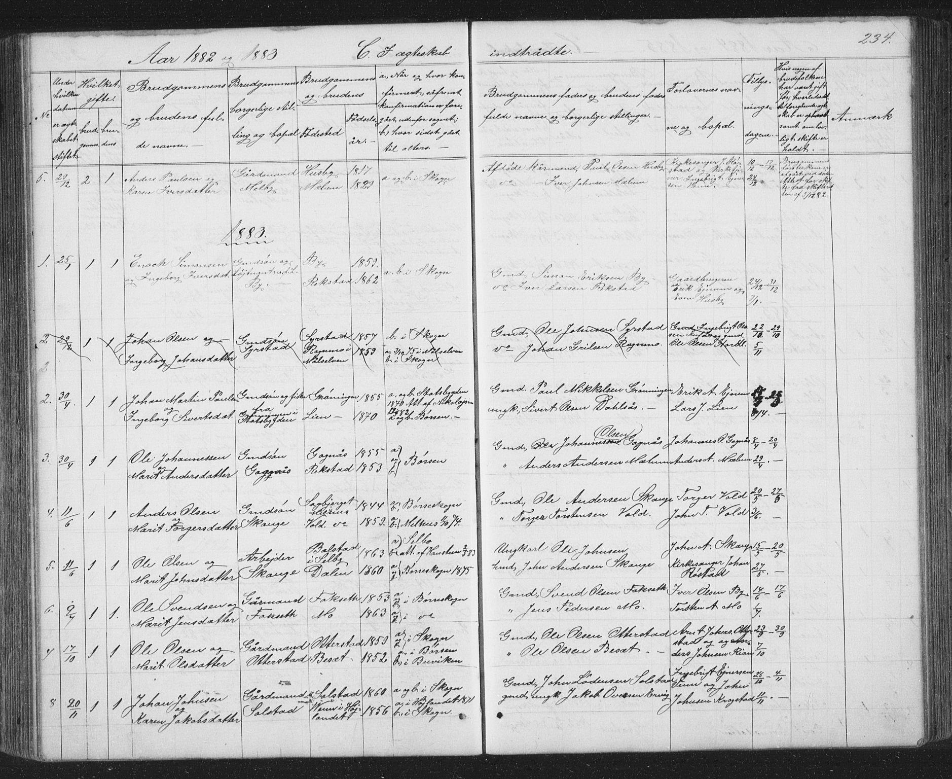 SAT, Ministerialprotokoller, klokkerbøker og fødselsregistre - Sør-Trøndelag, 667/L0798: Klokkerbok nr. 667C03, 1867-1929, s. 234
