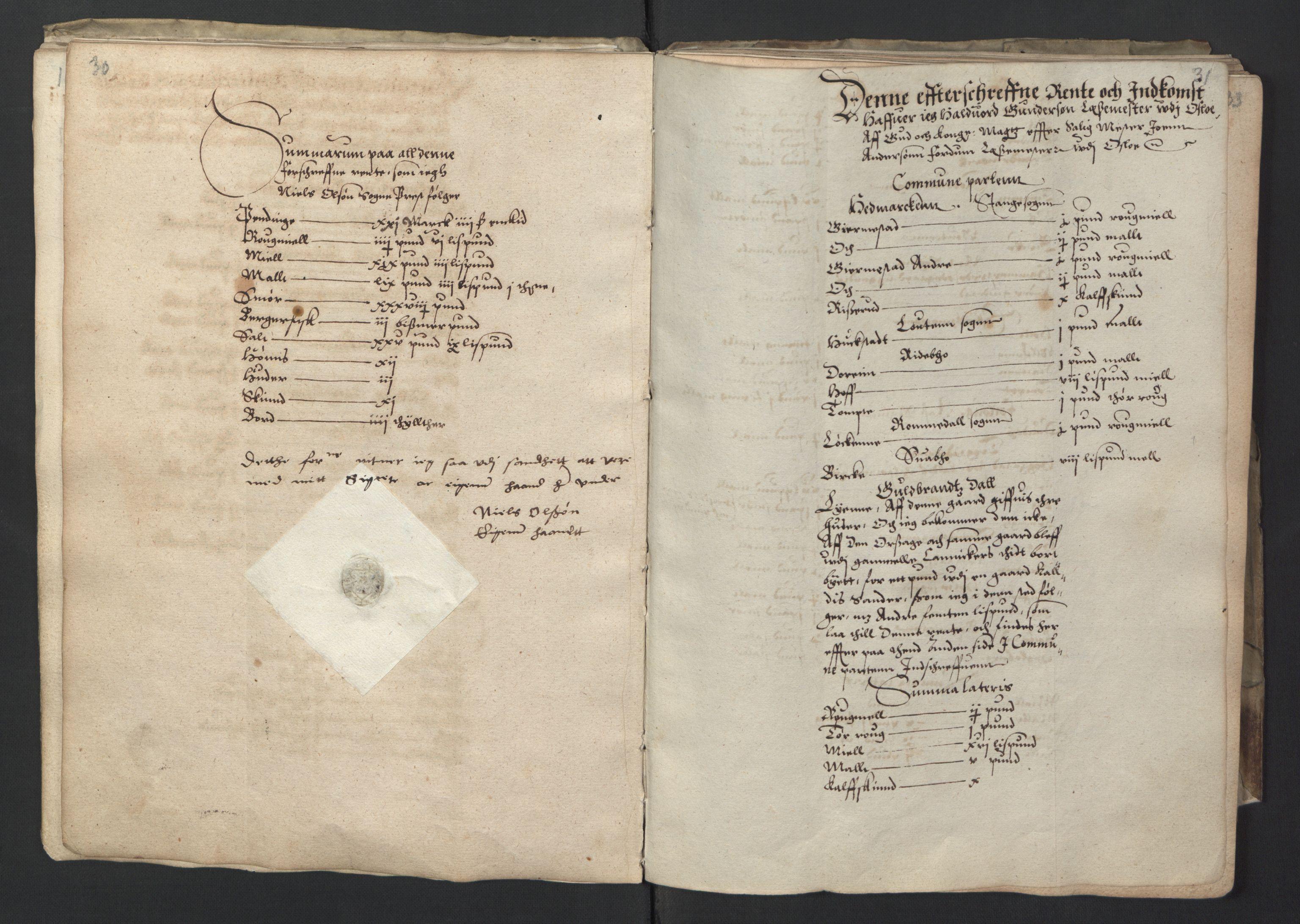 RA, Stattholderembetet 1572-1771, Ek/L0001: Jordebøker før 1624 og til utligning av garnisonsskatt 1624-1626:, 1595, s. 30-31