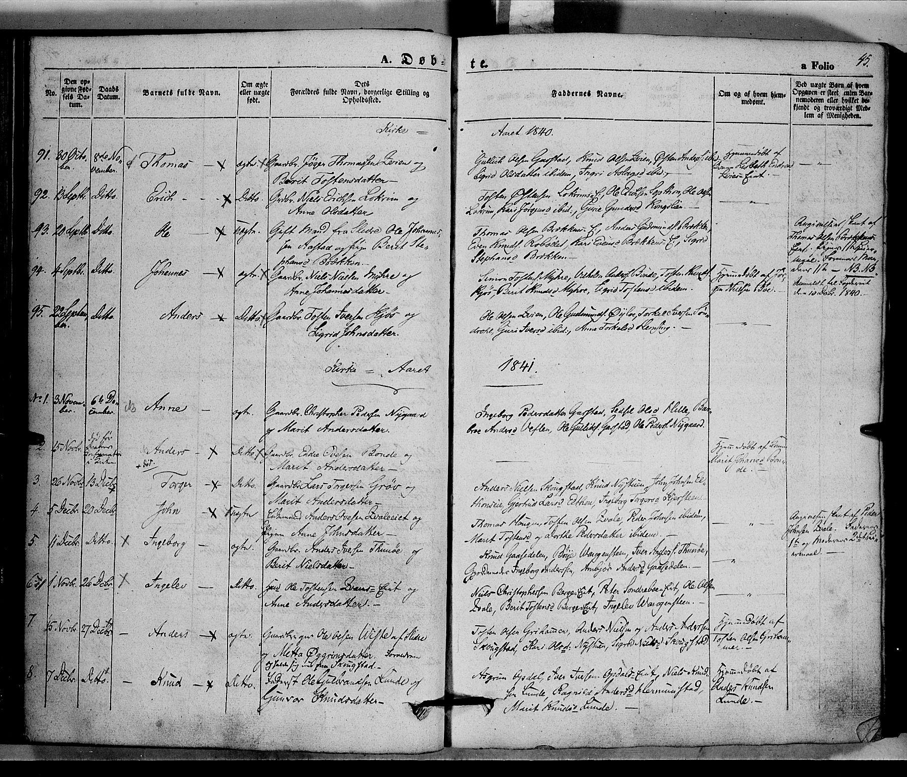 SAH, Vang prestekontor, Valdres, Ministerialbok nr. 5, 1831-1845, s. 45
