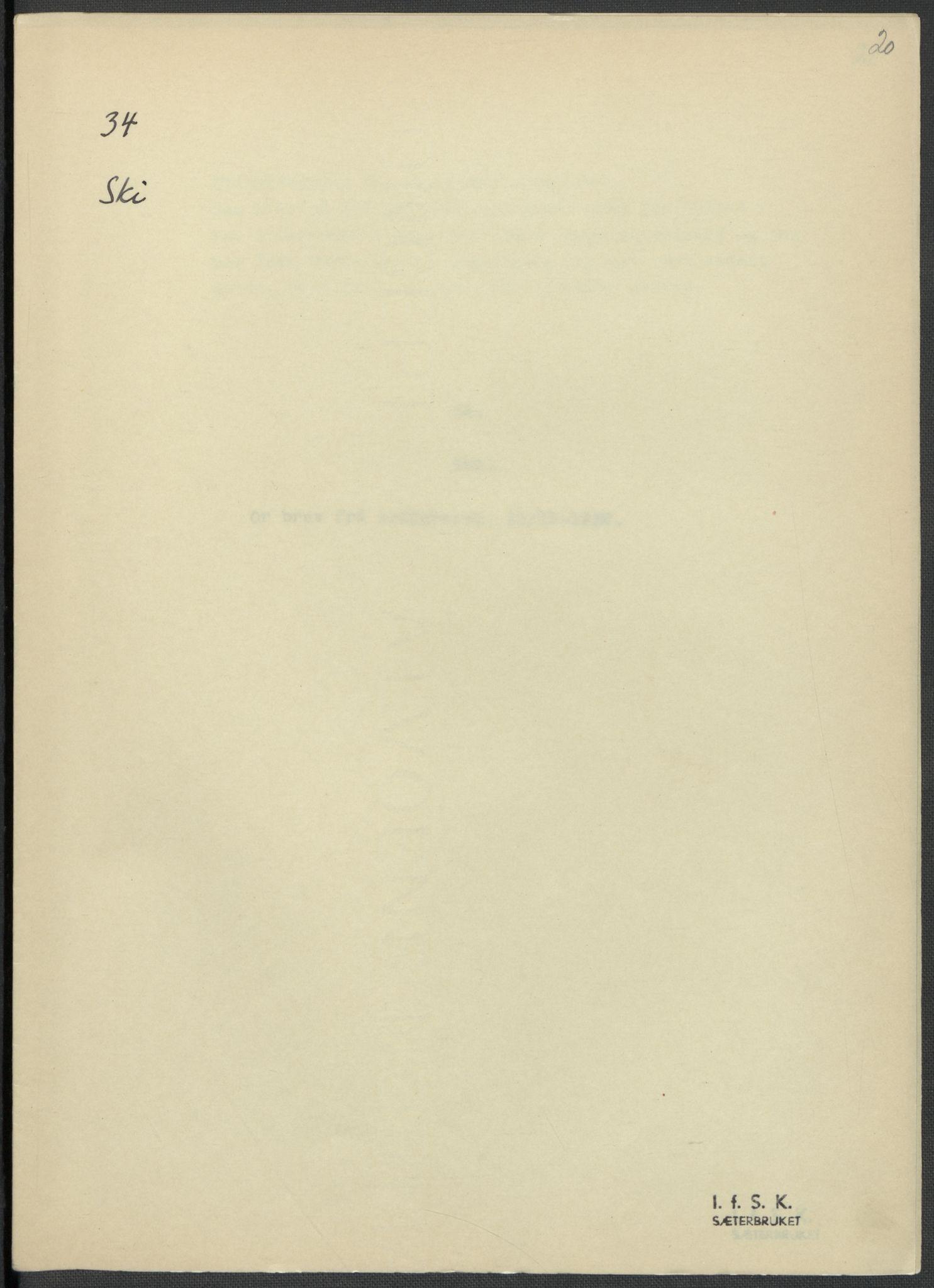 RA, Instituttet for sammenlignende kulturforskning, F/Fc/L0002: Eske B2:, 1932-1936, s. 20