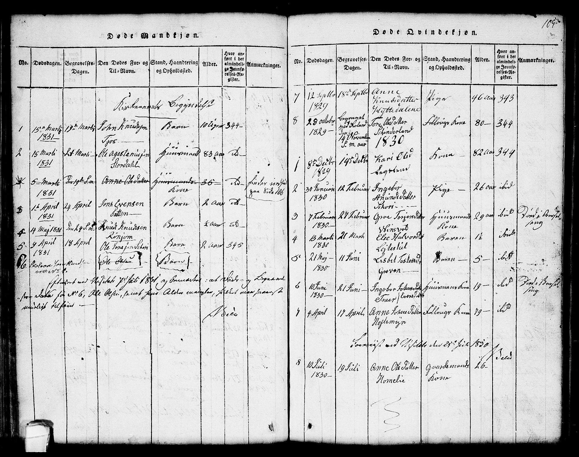 SAKO, Seljord kirkebøker, G/Gc/L0001: Klokkerbok nr. III 1, 1815-1849, s. 105