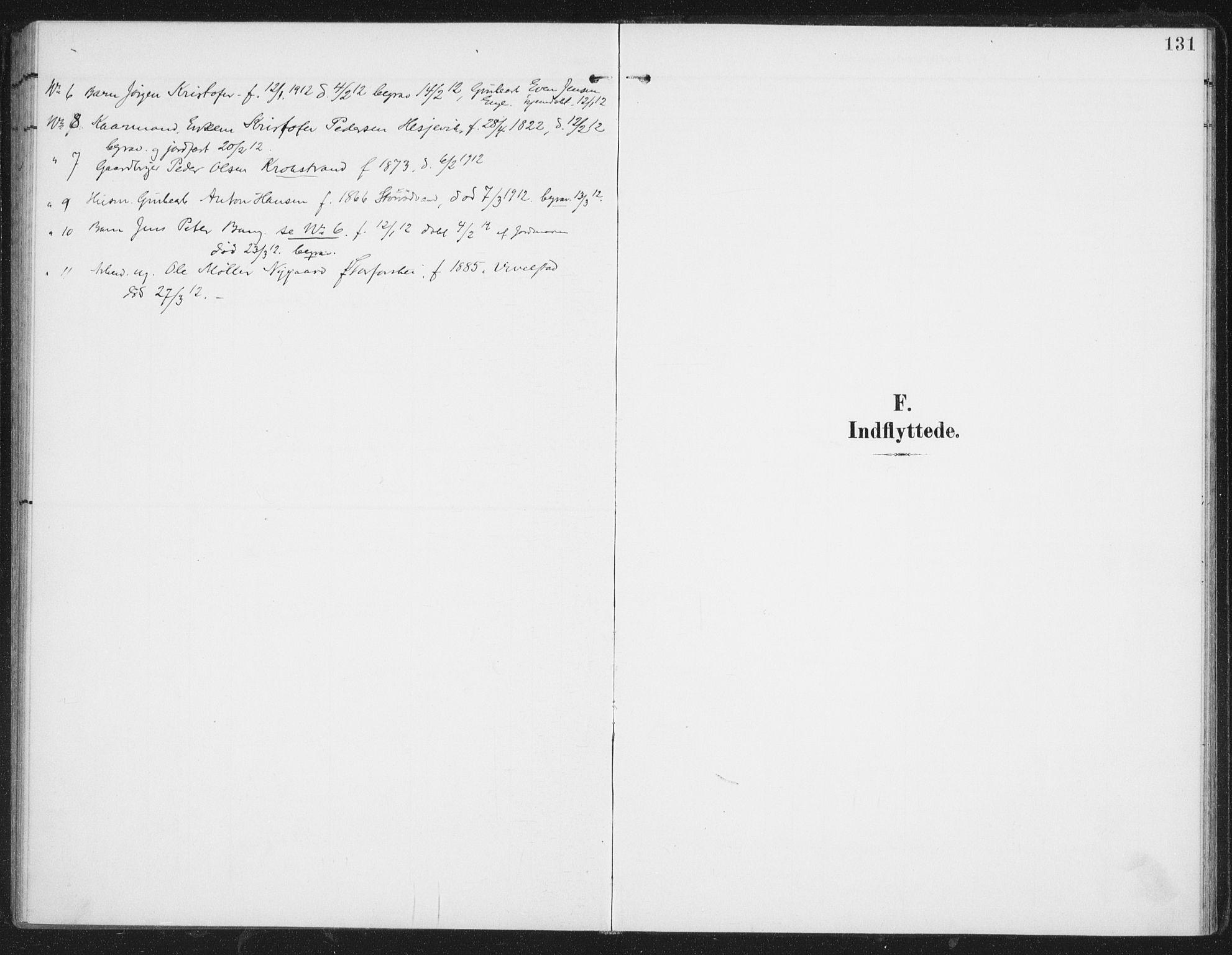 SAT, Ministerialprotokoller, klokkerbøker og fødselsregistre - Nordland, 827/L0403: Ministerialbok nr. 827A15, 1903-1912, s. 131