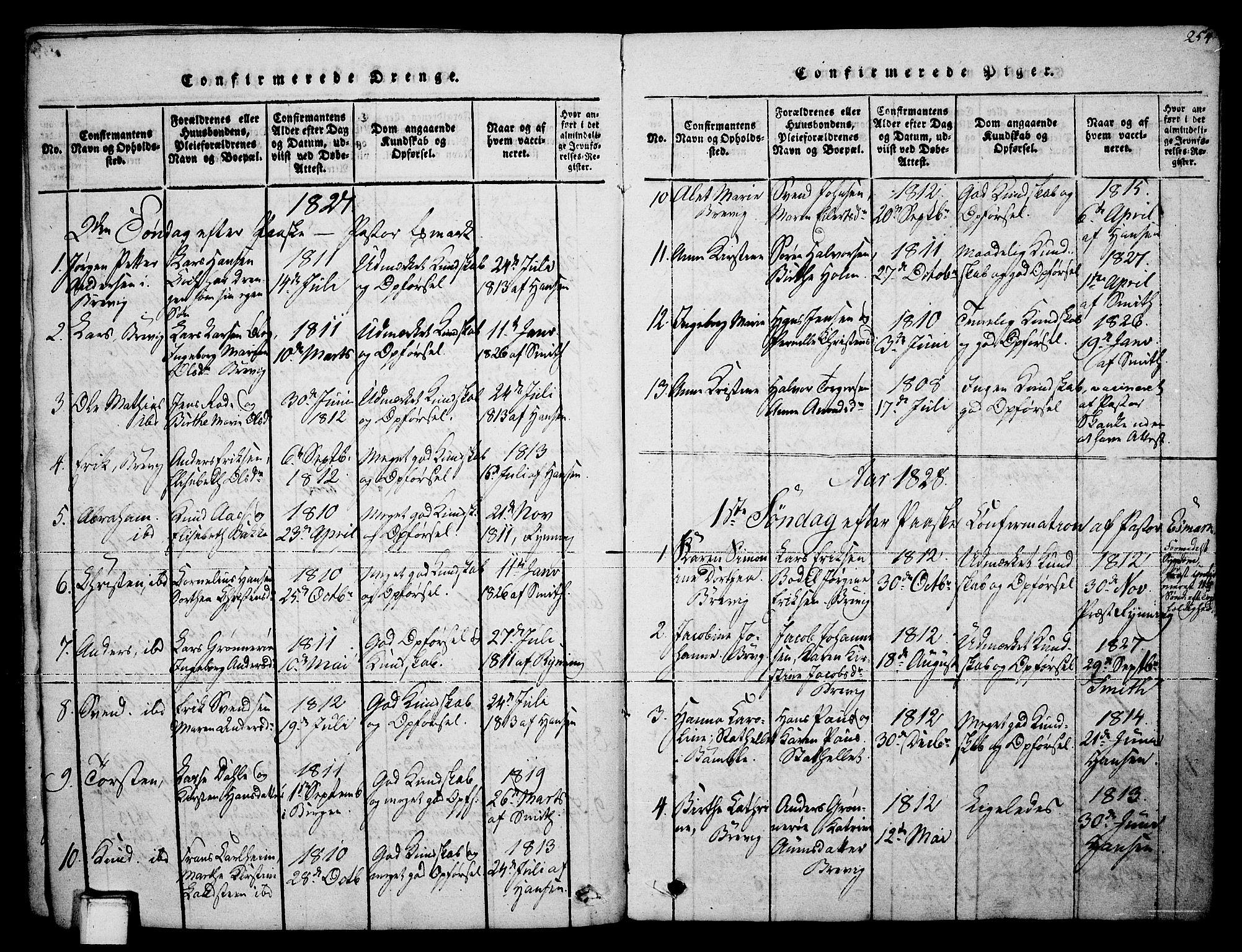 SAKO, Brevik kirkebøker, F/Fa/L0004: Ministerialbok nr. 4, 1814-1846, s. 254