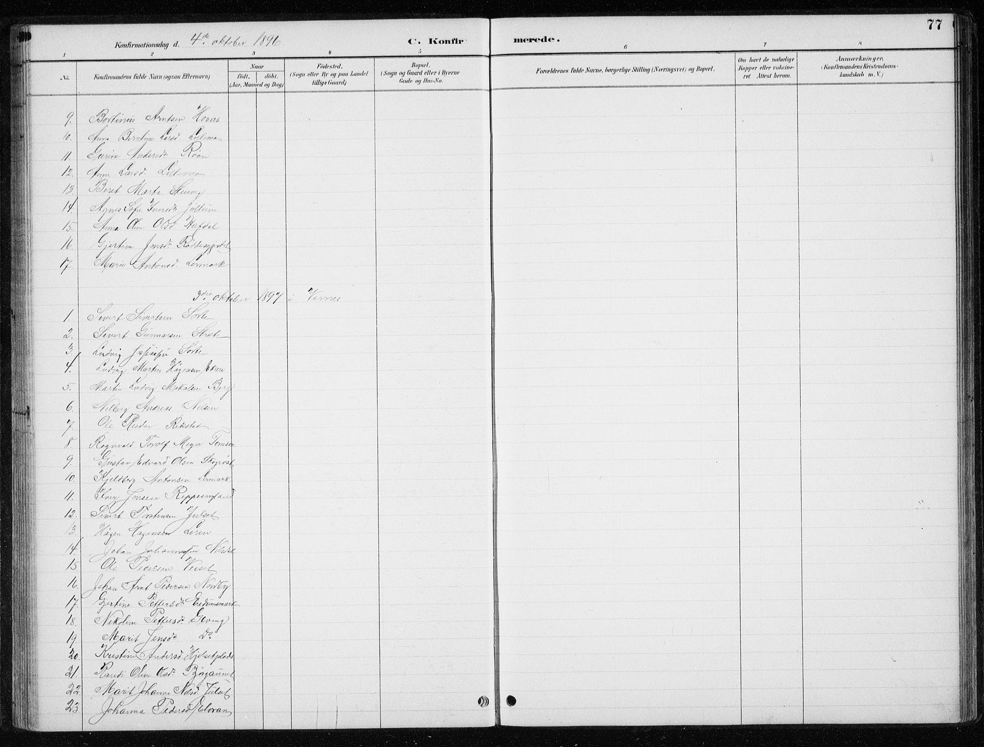 SAT, Ministerialprotokoller, klokkerbøker og fødselsregistre - Nord-Trøndelag, 710/L0096: Klokkerbok nr. 710C01, 1892-1925, s. 77
