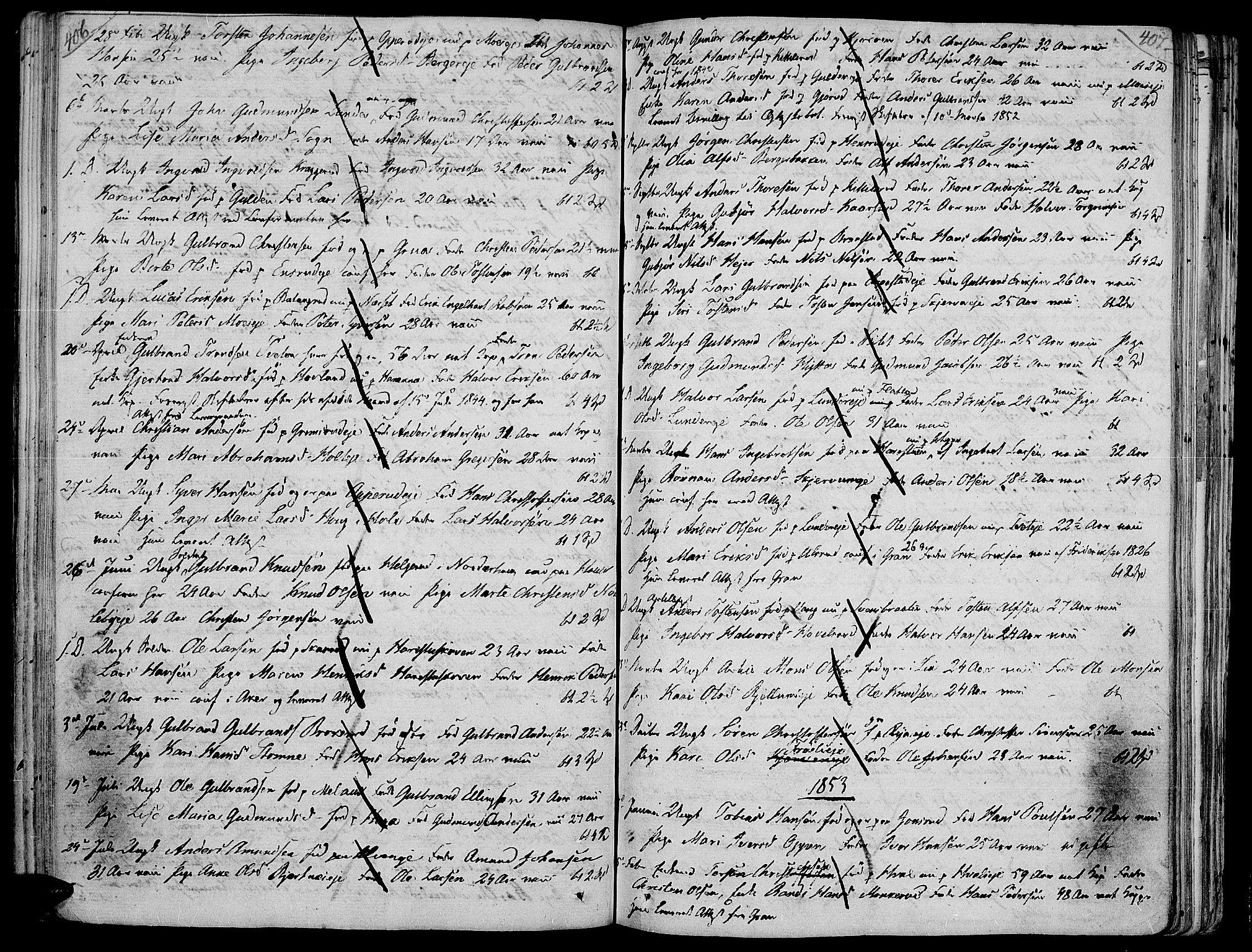 SAH, Jevnaker prestekontor, Ministerialbok nr. 4, 1800-1861, s. 406-407