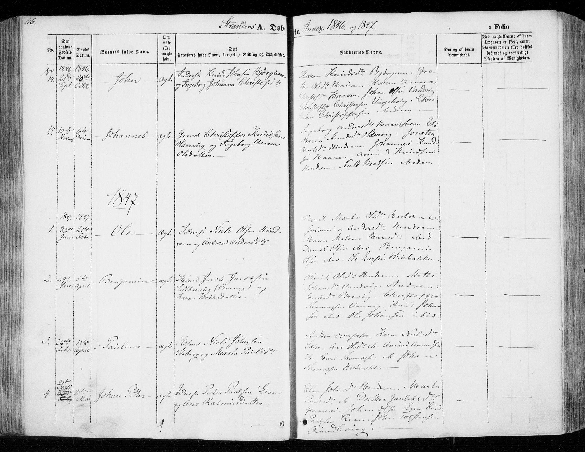 SAT, Ministerialprotokoller, klokkerbøker og fødselsregistre - Nord-Trøndelag, 701/L0007: Ministerialbok nr. 701A07 /2, 1842-1854, s. 116
