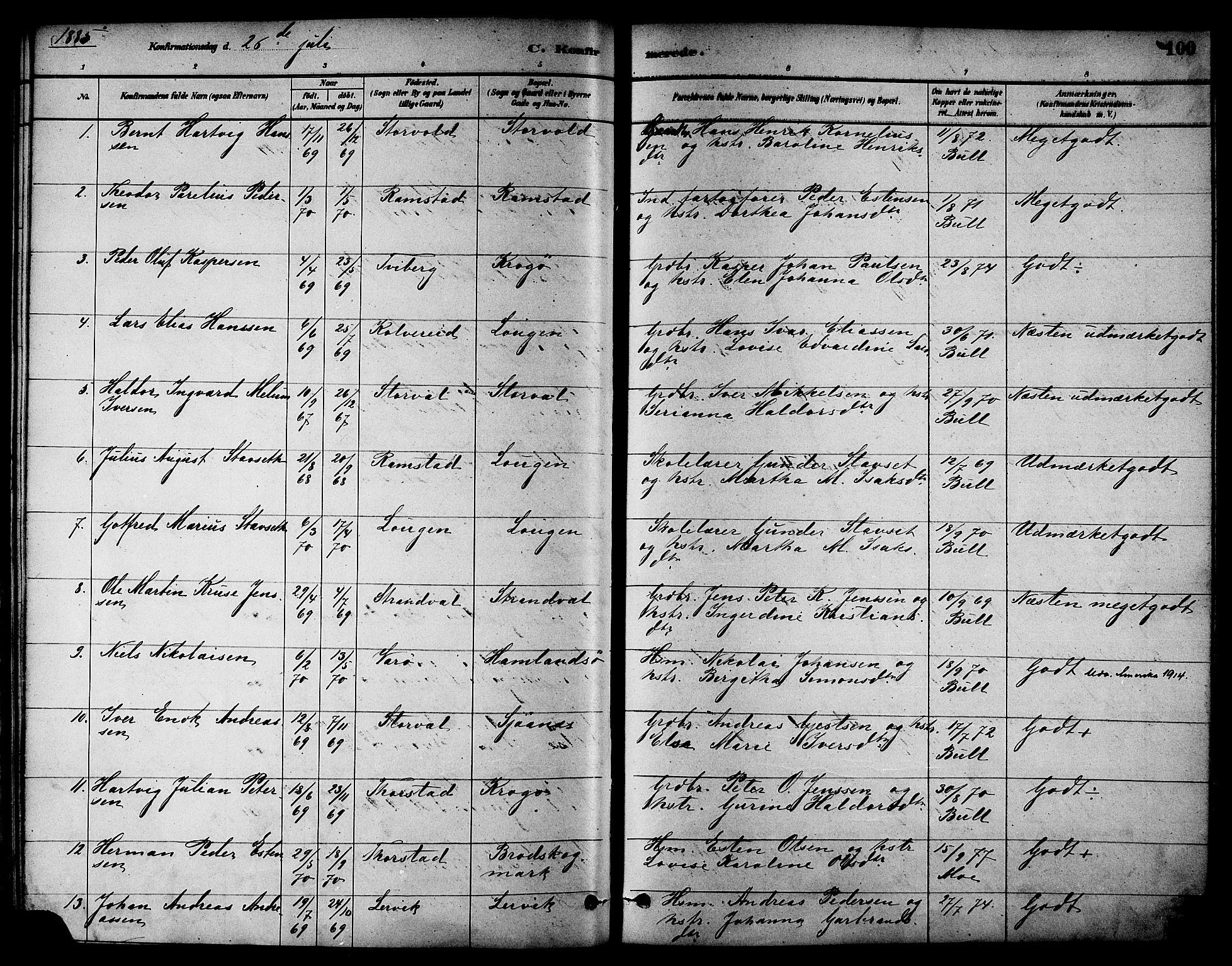 SAT, Ministerialprotokoller, klokkerbøker og fødselsregistre - Nord-Trøndelag, 784/L0672: Ministerialbok nr. 784A07, 1880-1887, s. 100