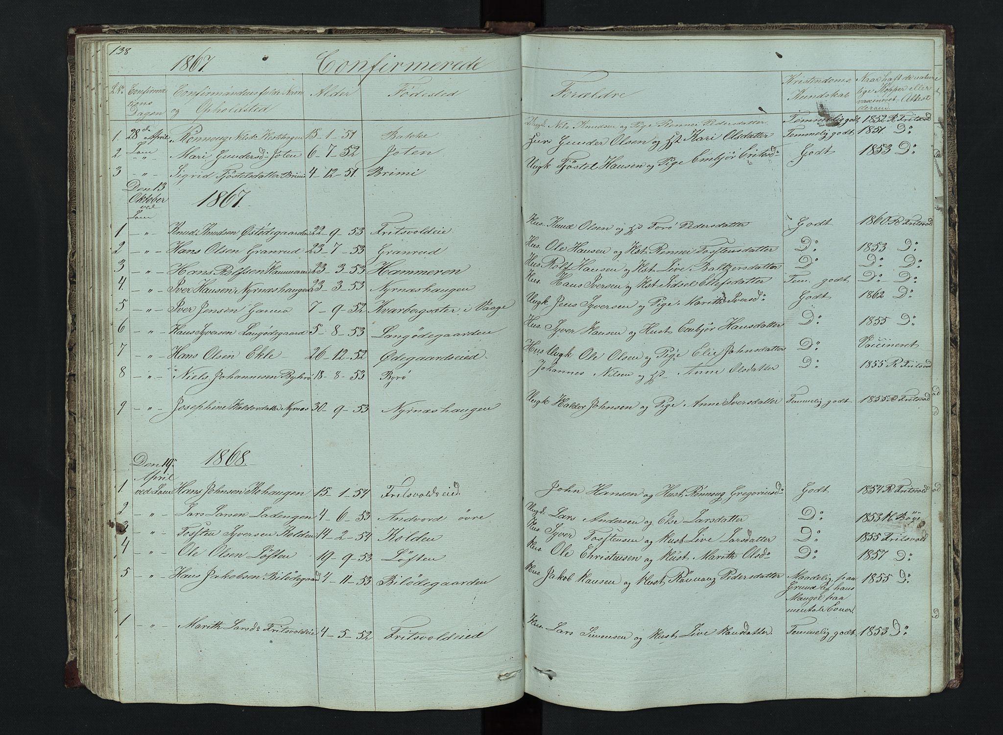 SAH, Lom prestekontor, L/L0014: Klokkerbok nr. 14, 1845-1876, s. 138-139