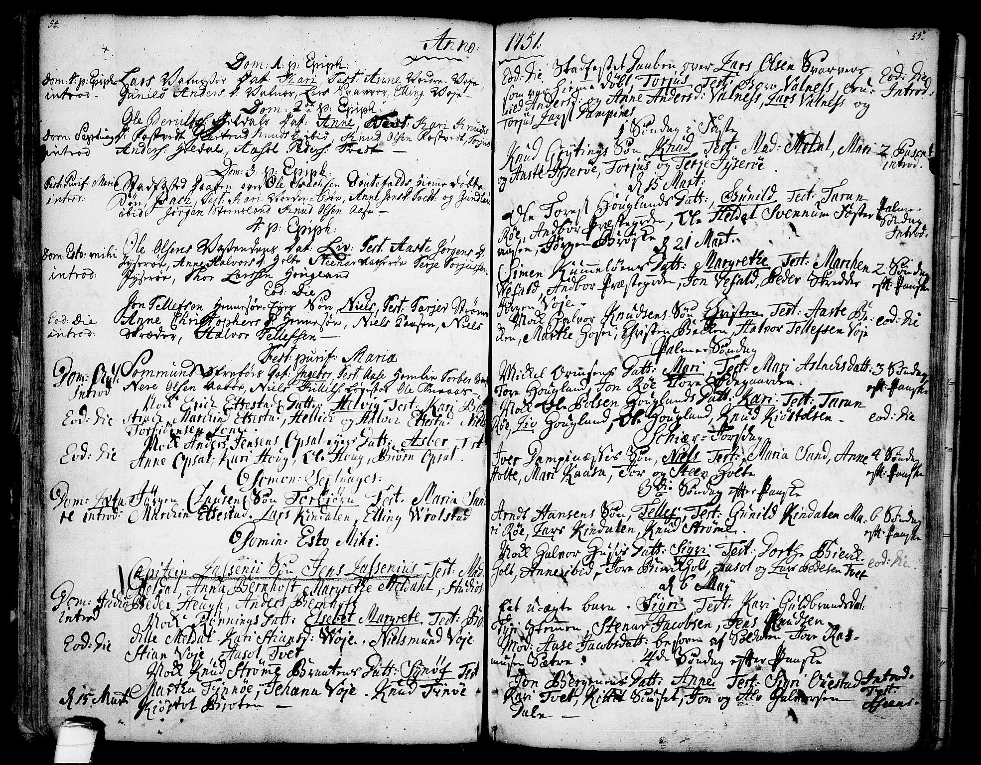 SAKO, Drangedal kirkebøker, F/Fa/L0001: Ministerialbok nr. 1, 1697-1767, s. 54-55