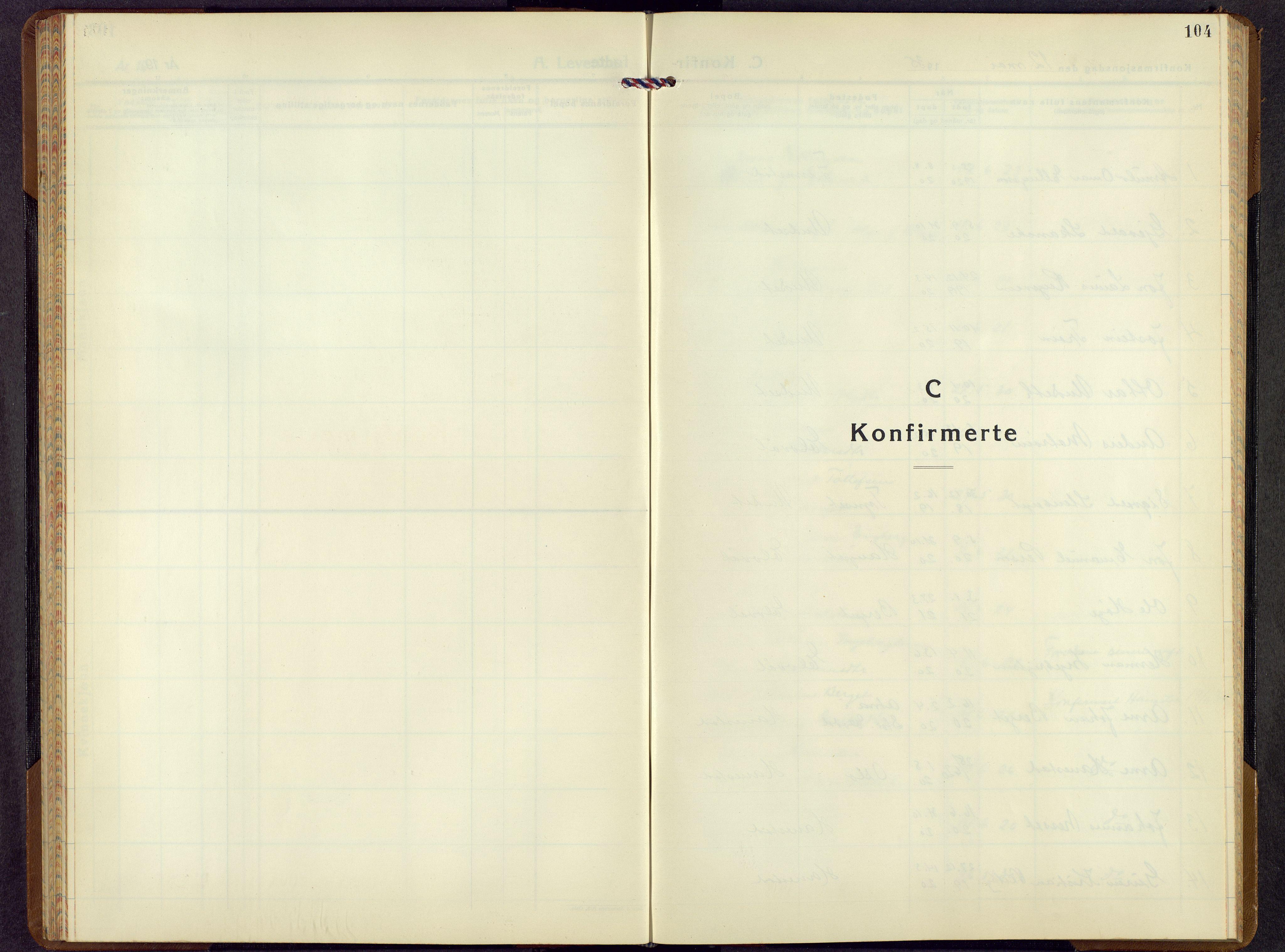 SAH, Rendalen prestekontor, H/Ha/Hab/L0005: Klokkerbok nr. 5, 1931-1959, s. 104