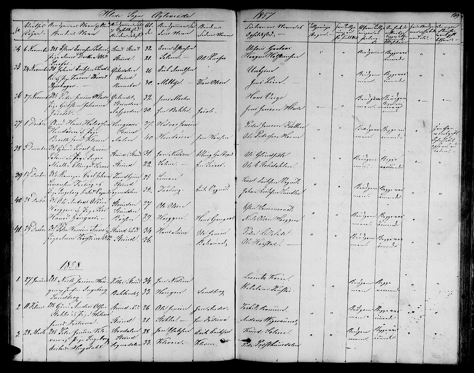 SAT, Ministerialprotokoller, klokkerbøker og fødselsregistre - Sør-Trøndelag, 606/L0310: Klokkerbok nr. 606C06, 1850-1859, s. 169