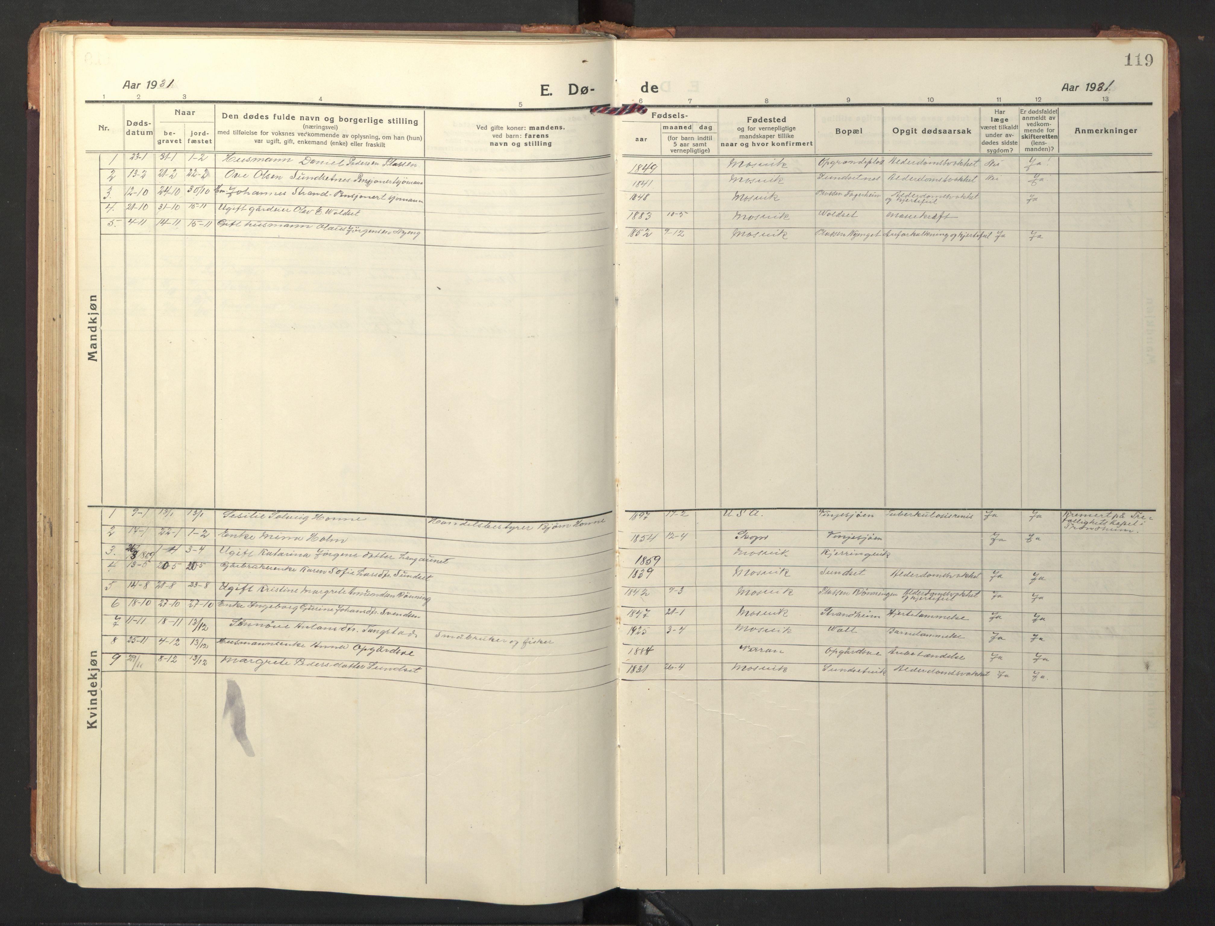 SAT, Ministerialprotokoller, klokkerbøker og fødselsregistre - Nord-Trøndelag, 733/L0328: Klokkerbok nr. 733C03, 1919-1966, s. 119