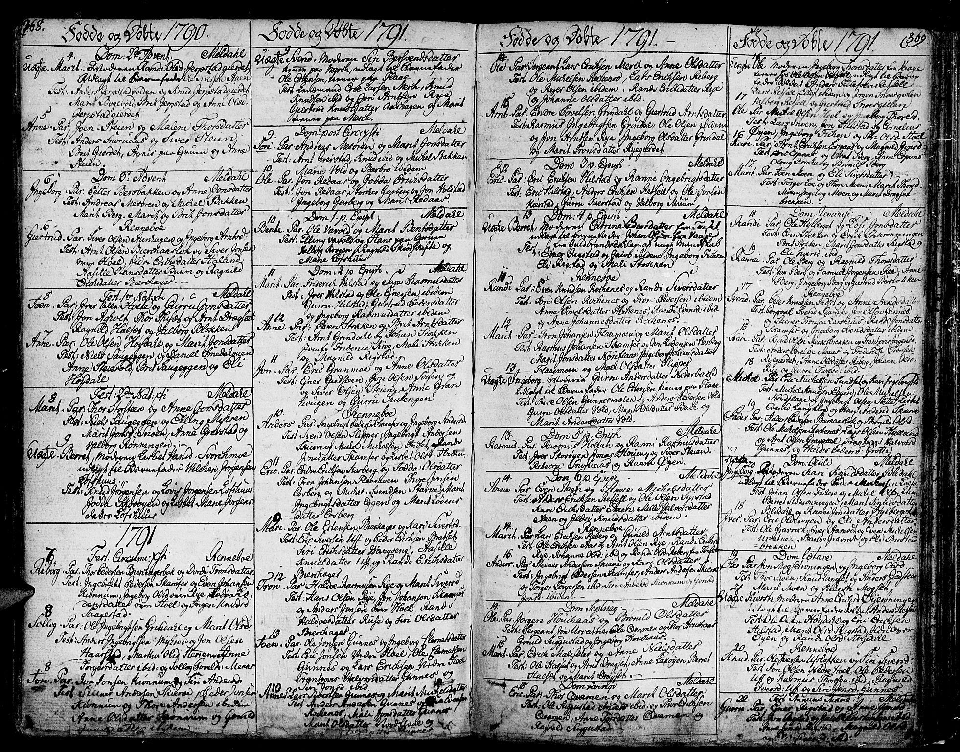 SAT, Ministerialprotokoller, klokkerbøker og fødselsregistre - Sør-Trøndelag, 672/L0852: Ministerialbok nr. 672A05, 1776-1815, s. 368-369
