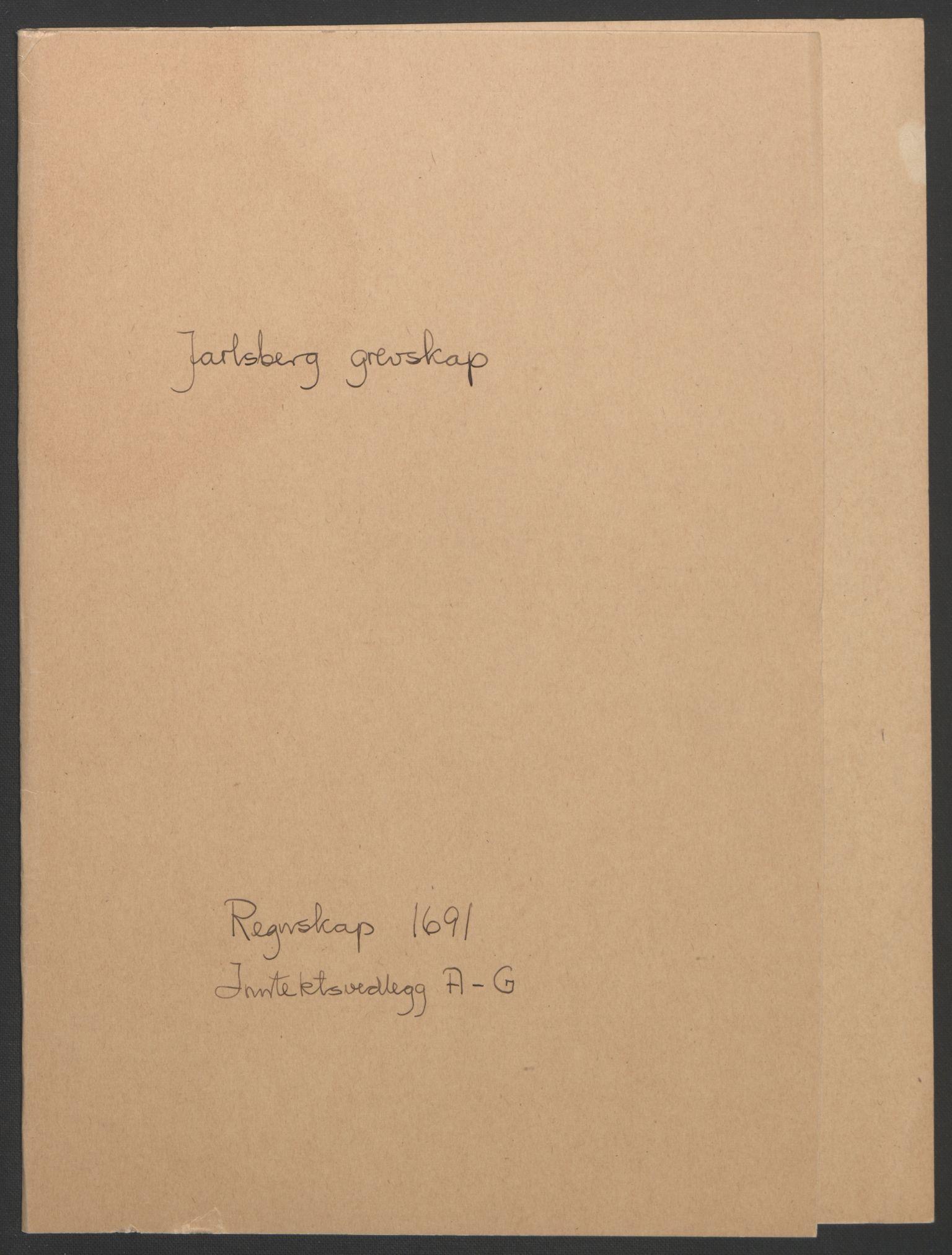 RA, Rentekammeret inntil 1814, Reviderte regnskaper, Fogderegnskap, R32/L1864: Fogderegnskap Jarlsberg grevskap, 1691, s. 2