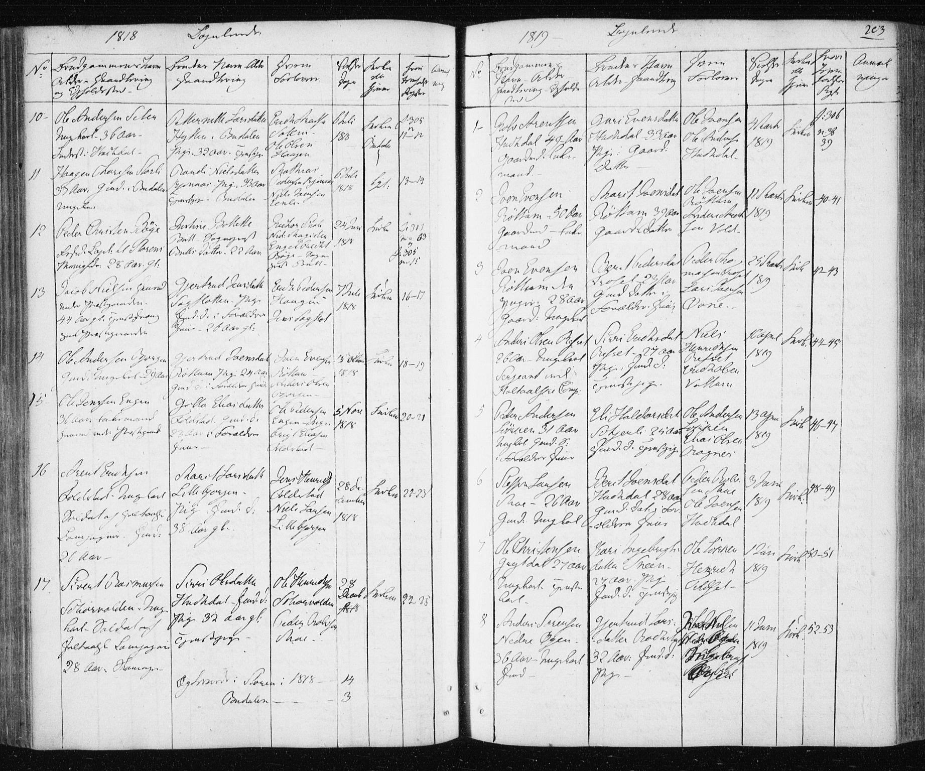 SAT, Ministerialprotokoller, klokkerbøker og fødselsregistre - Sør-Trøndelag, 687/L1017: Klokkerbok nr. 687C01, 1816-1837, s. 203