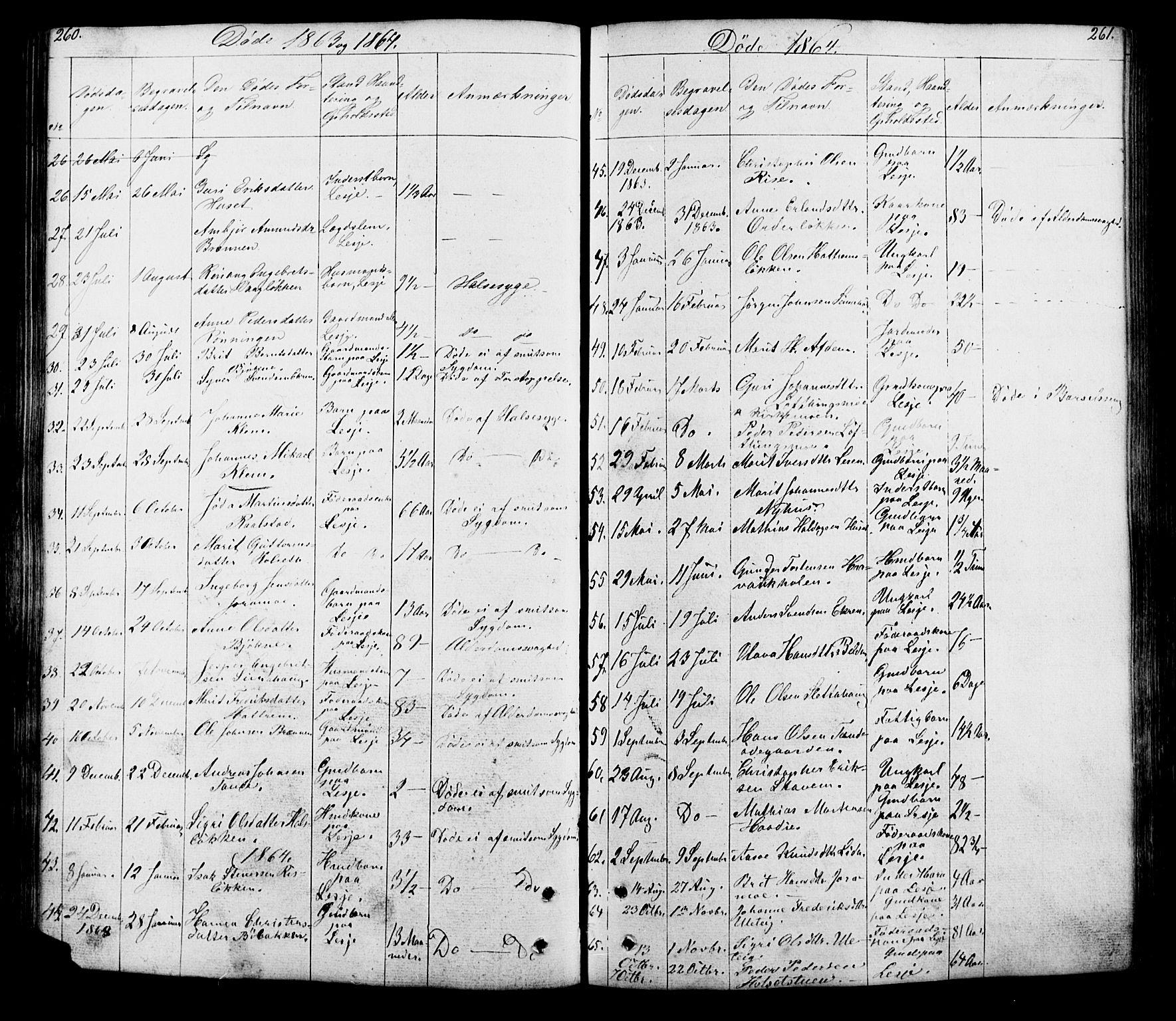 SAH, Lesja prestekontor, Klokkerbok nr. 5, 1850-1894, s. 260-261